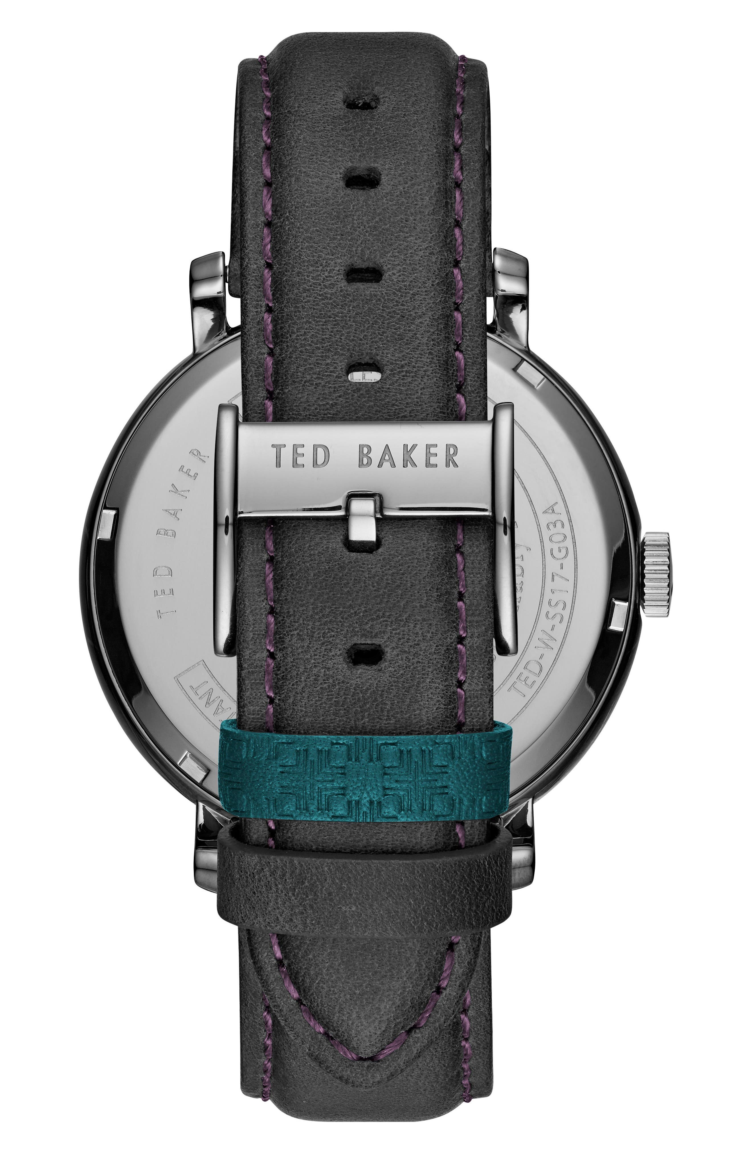 Alternate Image 2  - Ted Baker London Trent Leather Strap Watch, 44mm