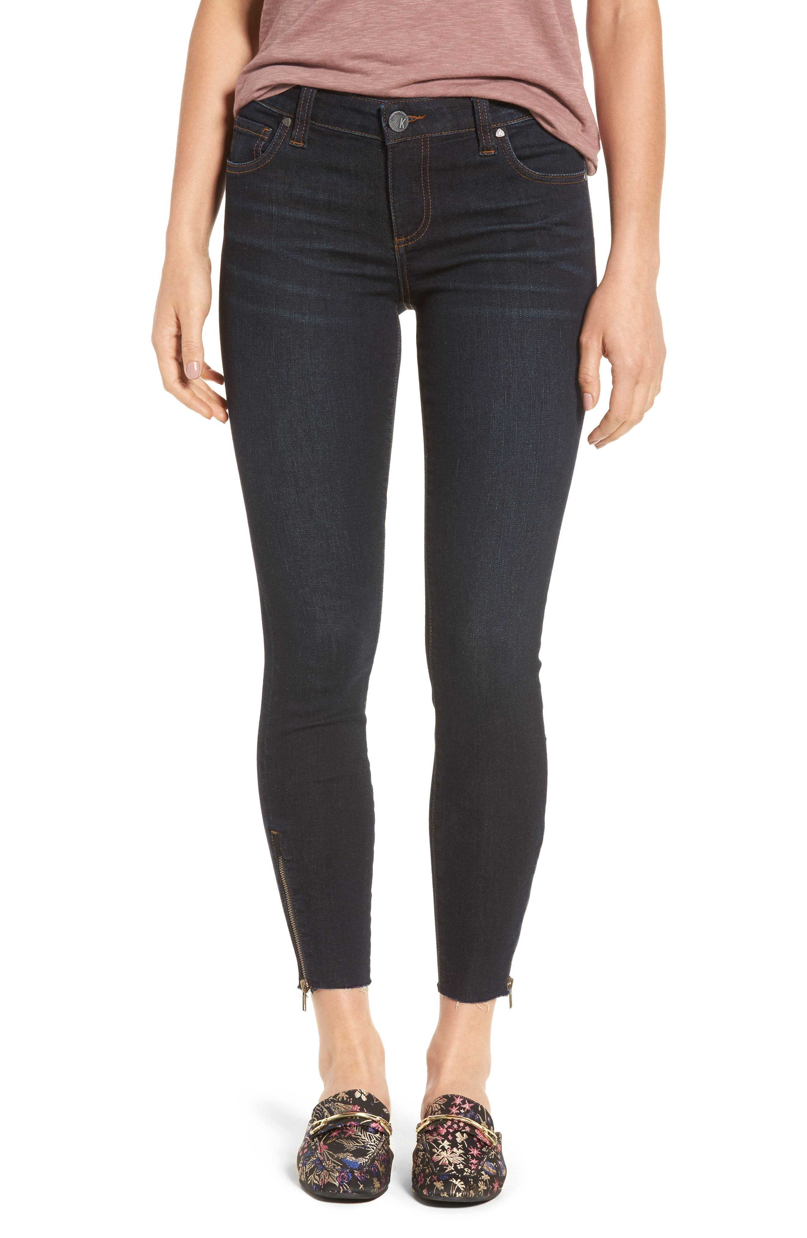 KUT from the Kloth Connie Skinny Ankle Zip Hem Jeans (Euro Companionable)