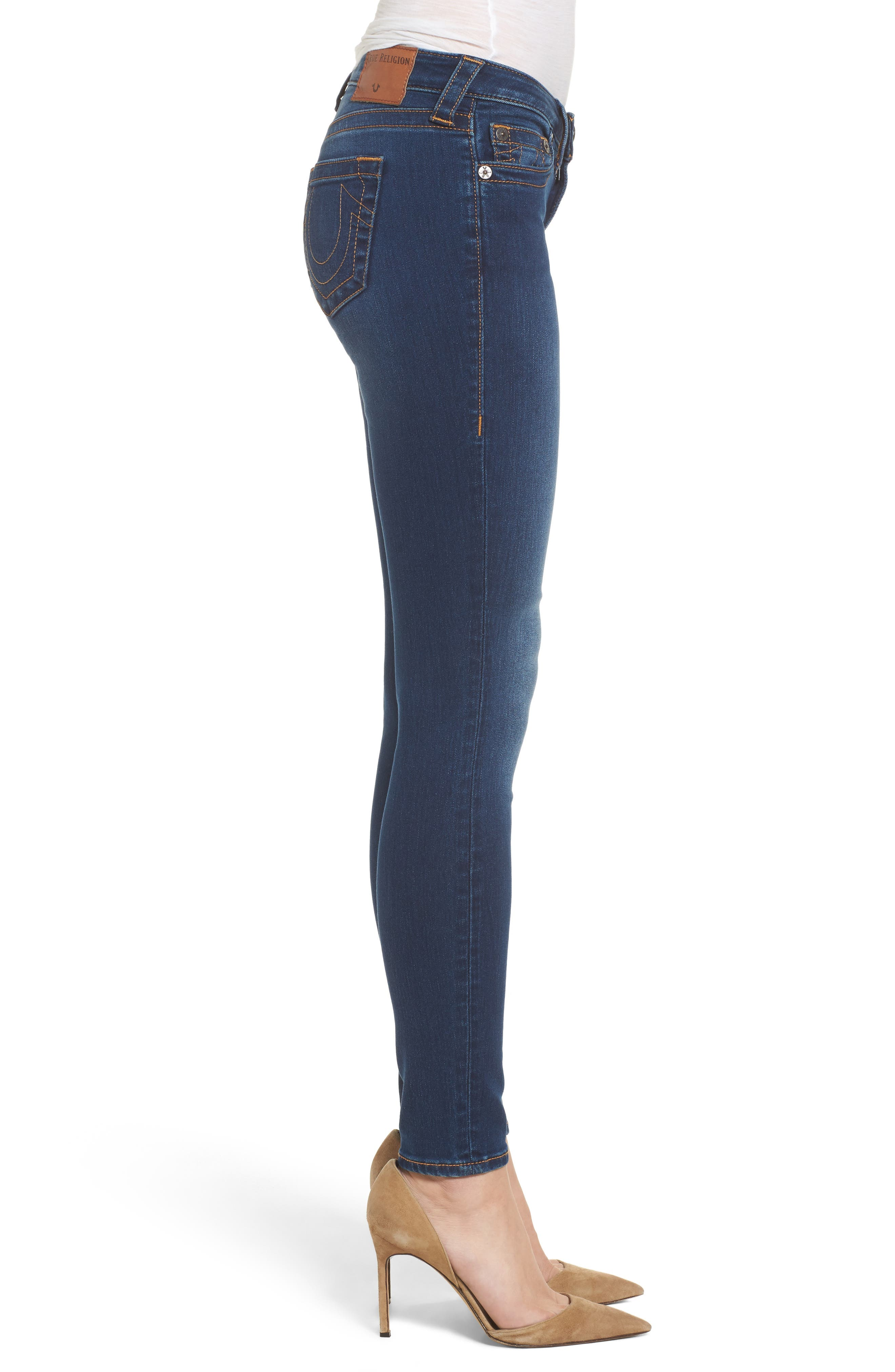 Halle Mid Rise Skinny Jeans,                             Alternate thumbnail 3, color,                             Lands End Indigo