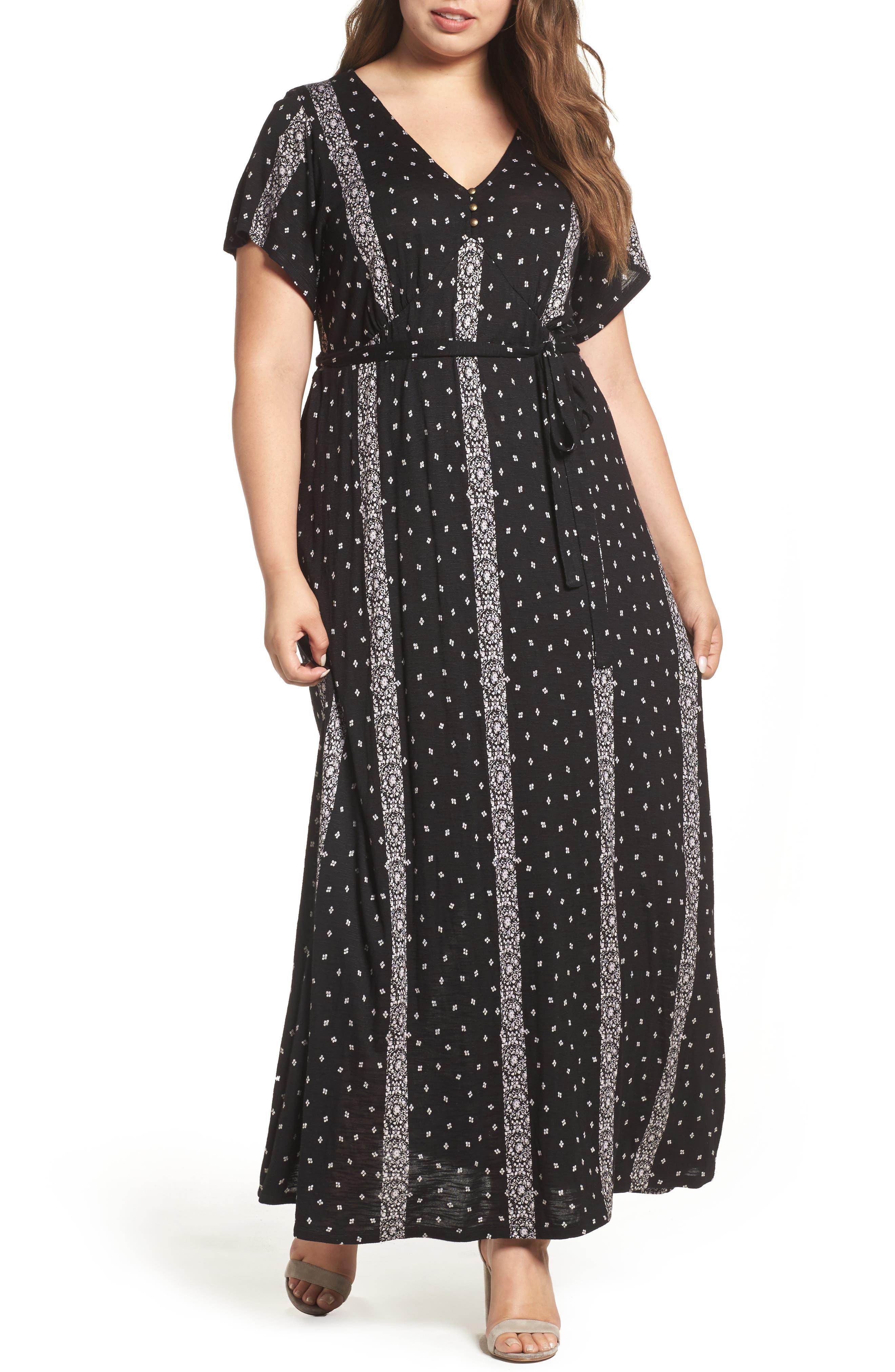 Lucky Brand Striped Ditsy Maxi Dress (Plus Size)