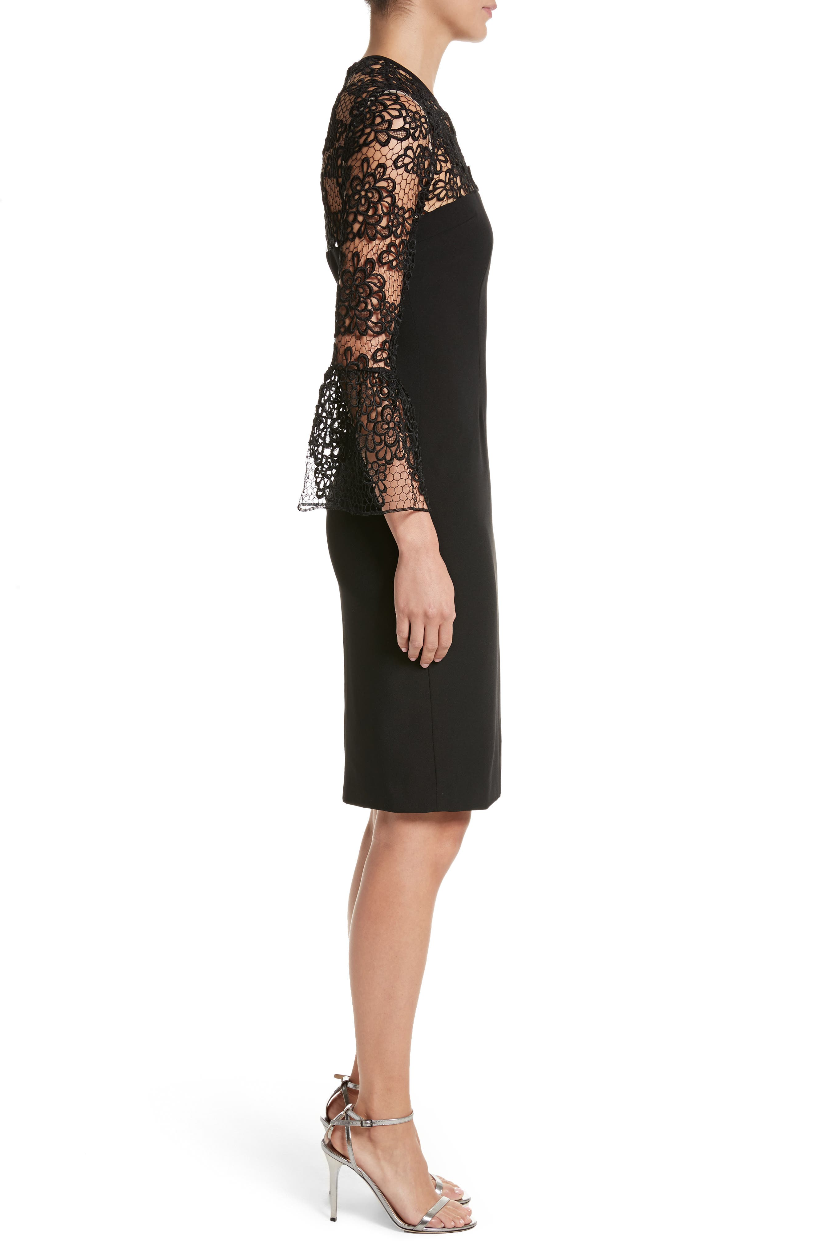Alternate Image 3  - Carmen Marc Valvo Couture Embroidered Lace Bell Sleeve Sheath Dress