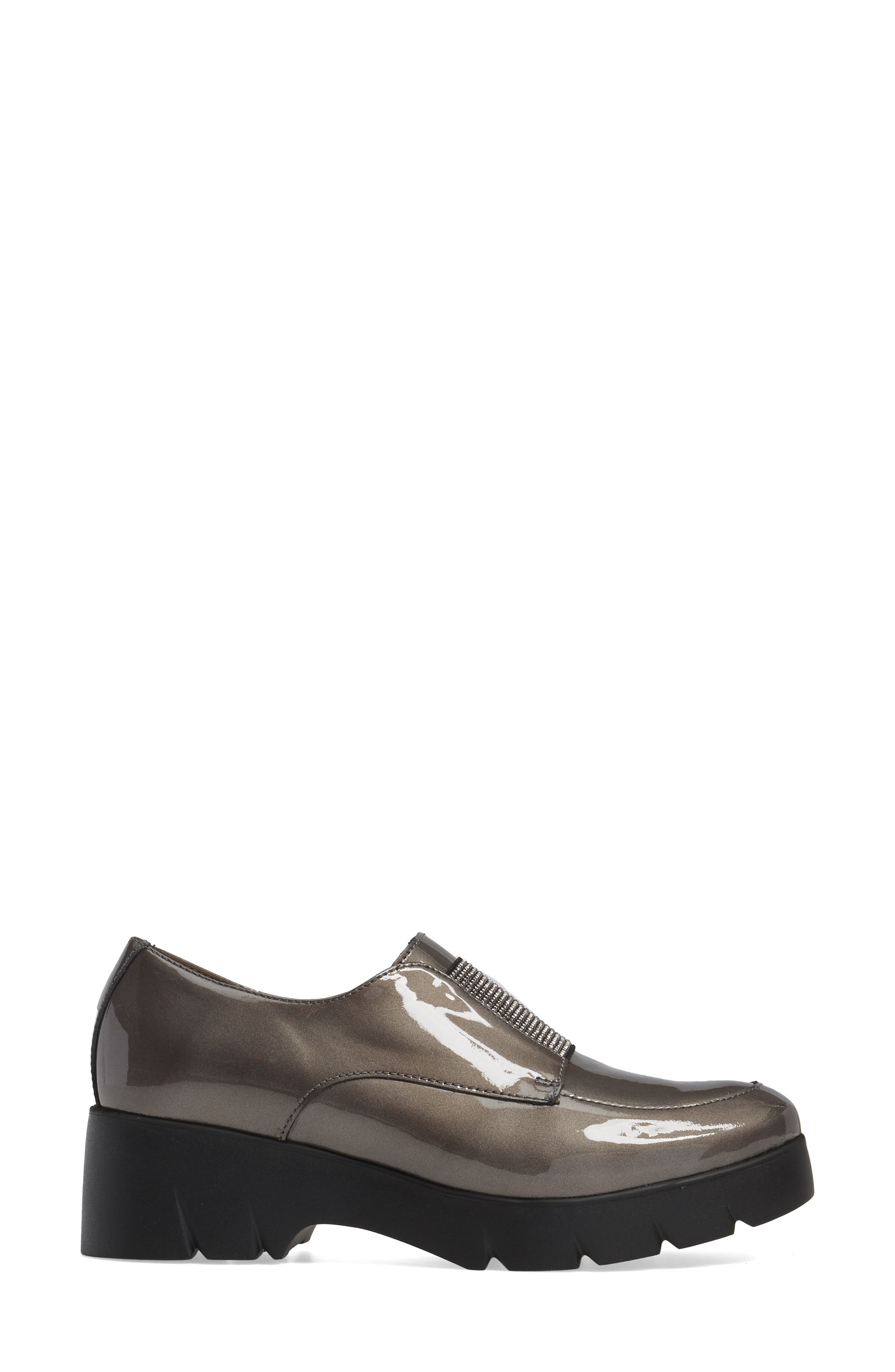 Loafer Flat,                             Alternate thumbnail 3, color,                             Silver Patent Leather