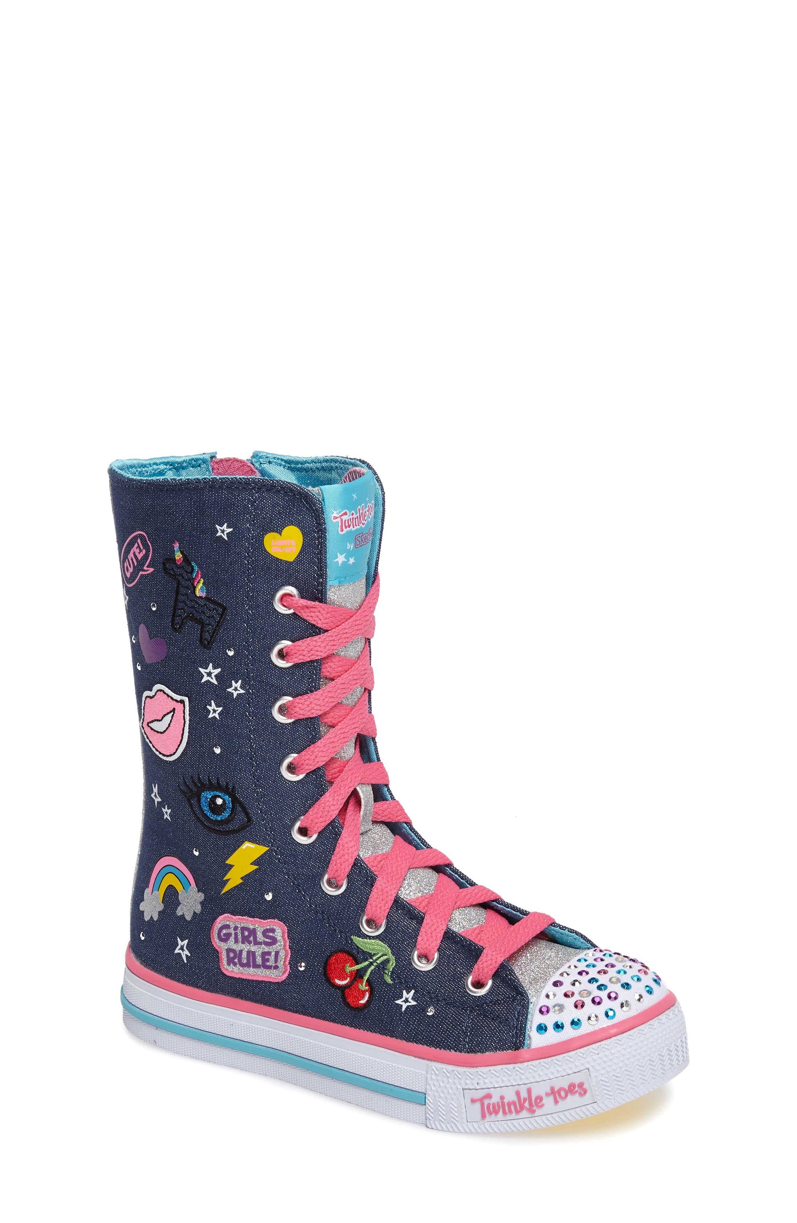 Twinkle Toes Shuffles Ultra High Top Sneaker,                         Main,                         color, Denim/ Multi
