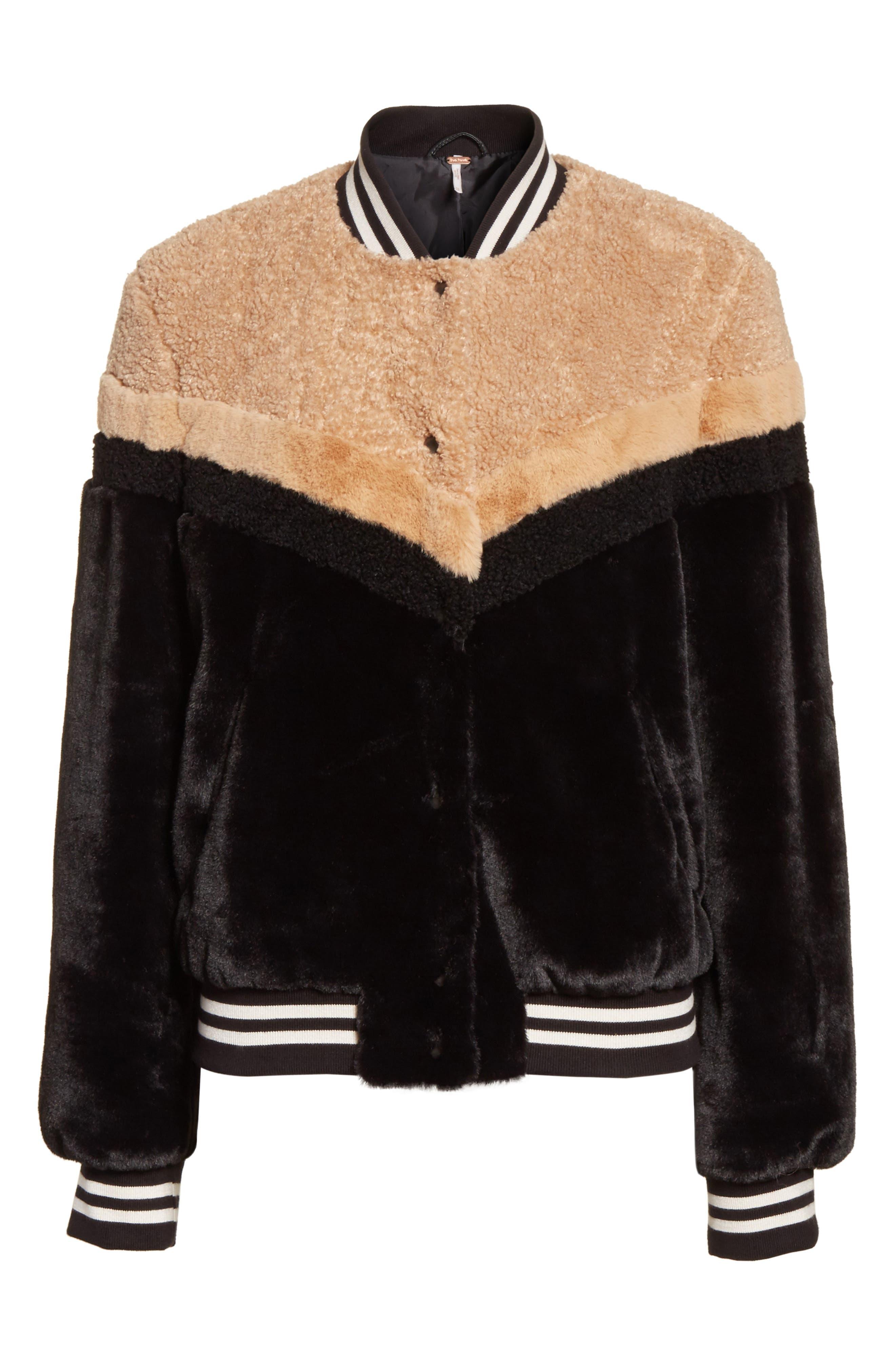 Mixed Faux Fur Bomber Jacket,                             Alternate thumbnail 6, color,                             Black