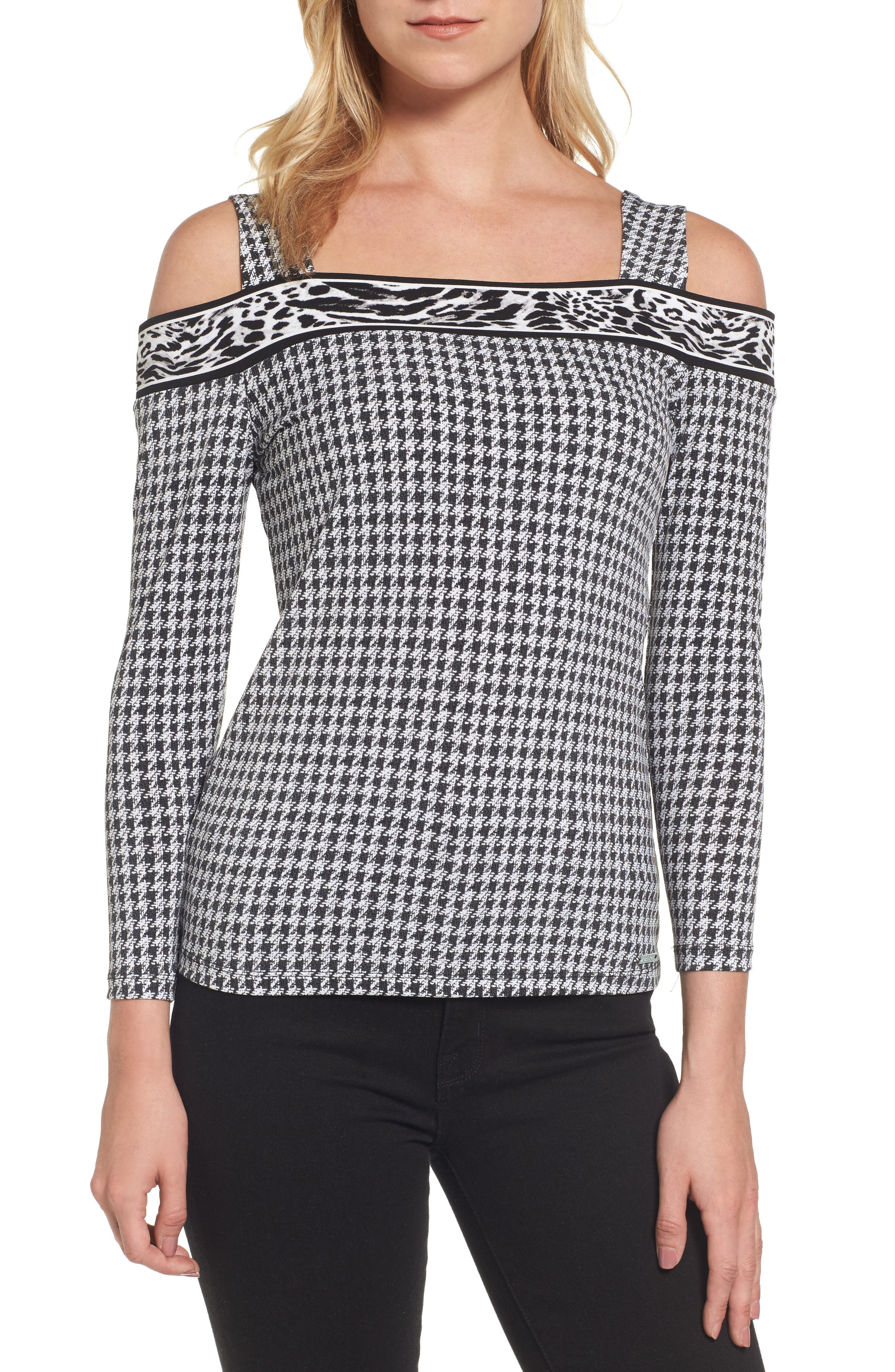 MICHAEL Michael Kors Houndstooth Cold Shoulder Top