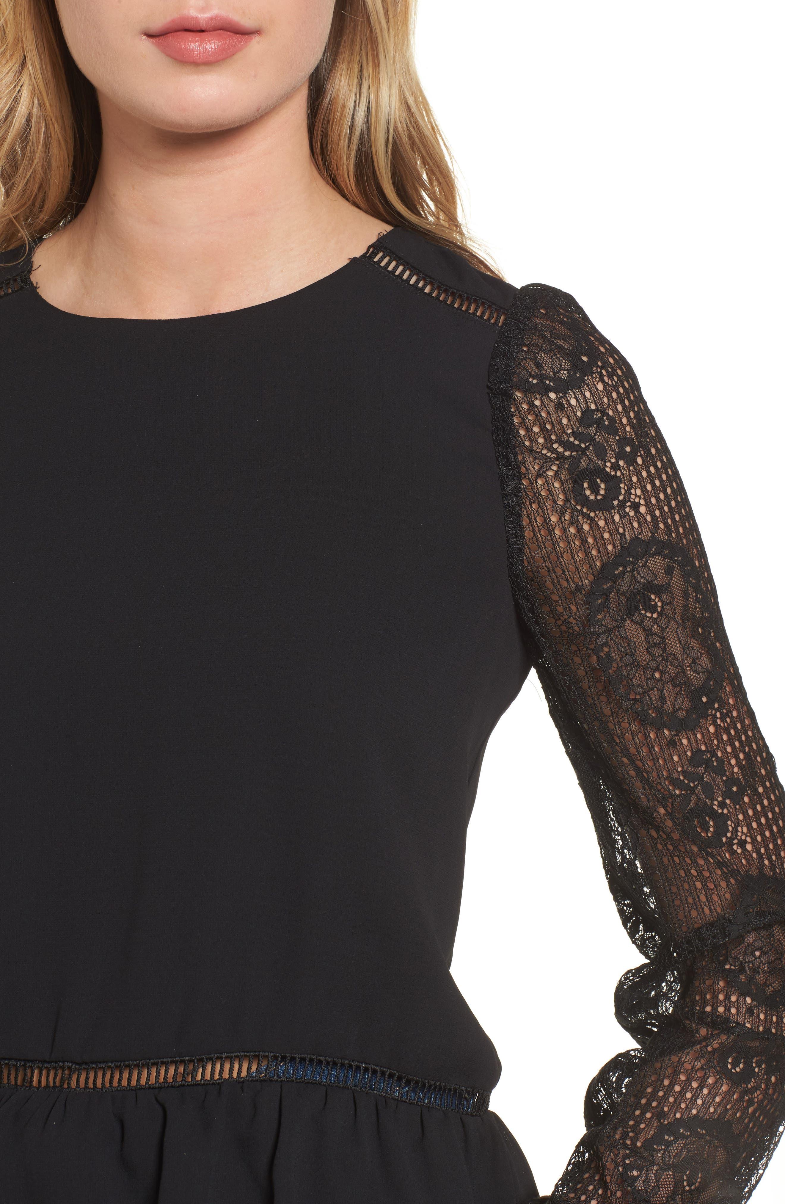 Alternate Image 4  - MOON RIVER Ruffle Hem Lace Sleeve Top