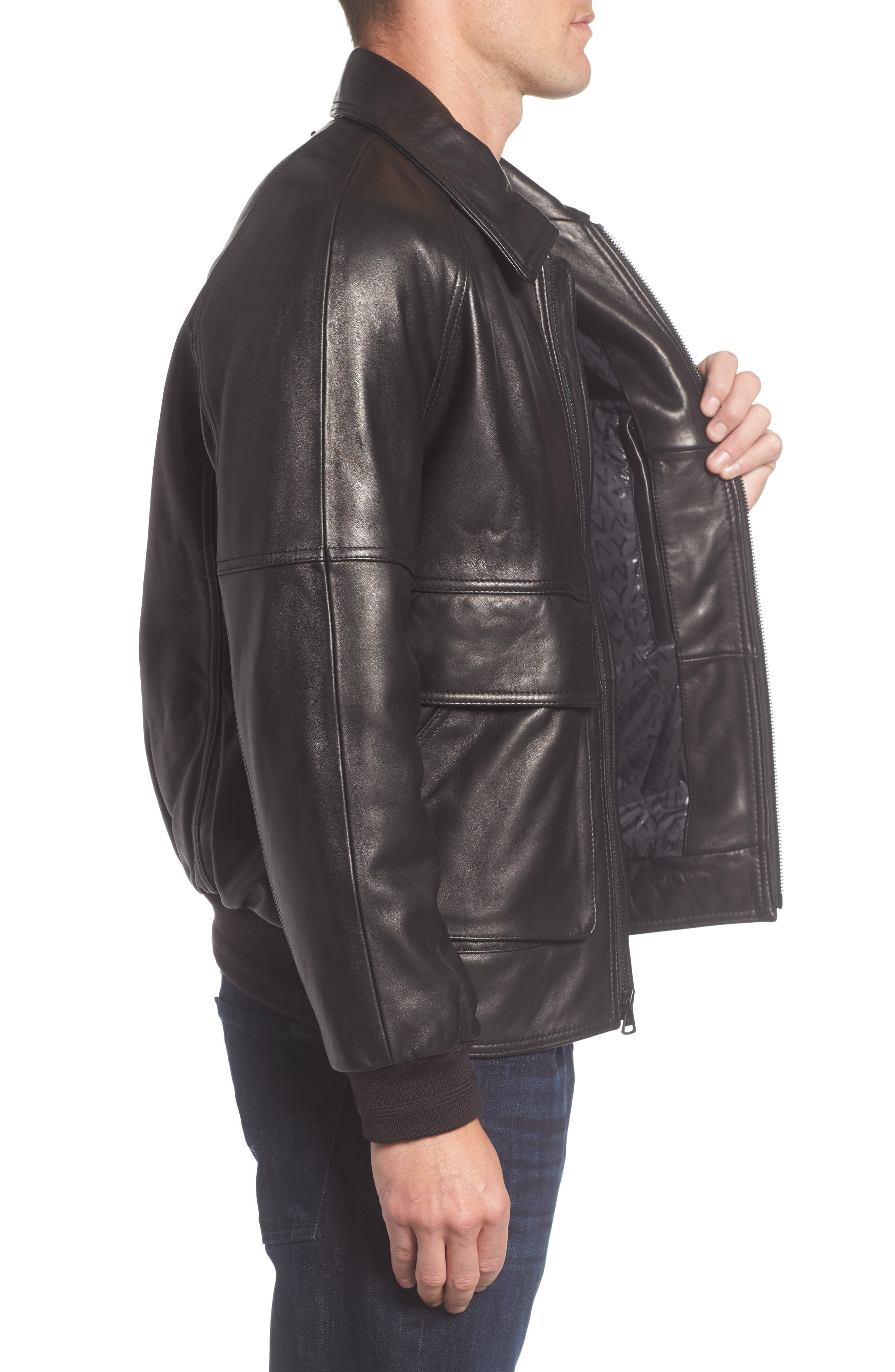 Andrew Marc Lambskin Leather Aviator Jacket,                             Alternate thumbnail 3, color,                             Black