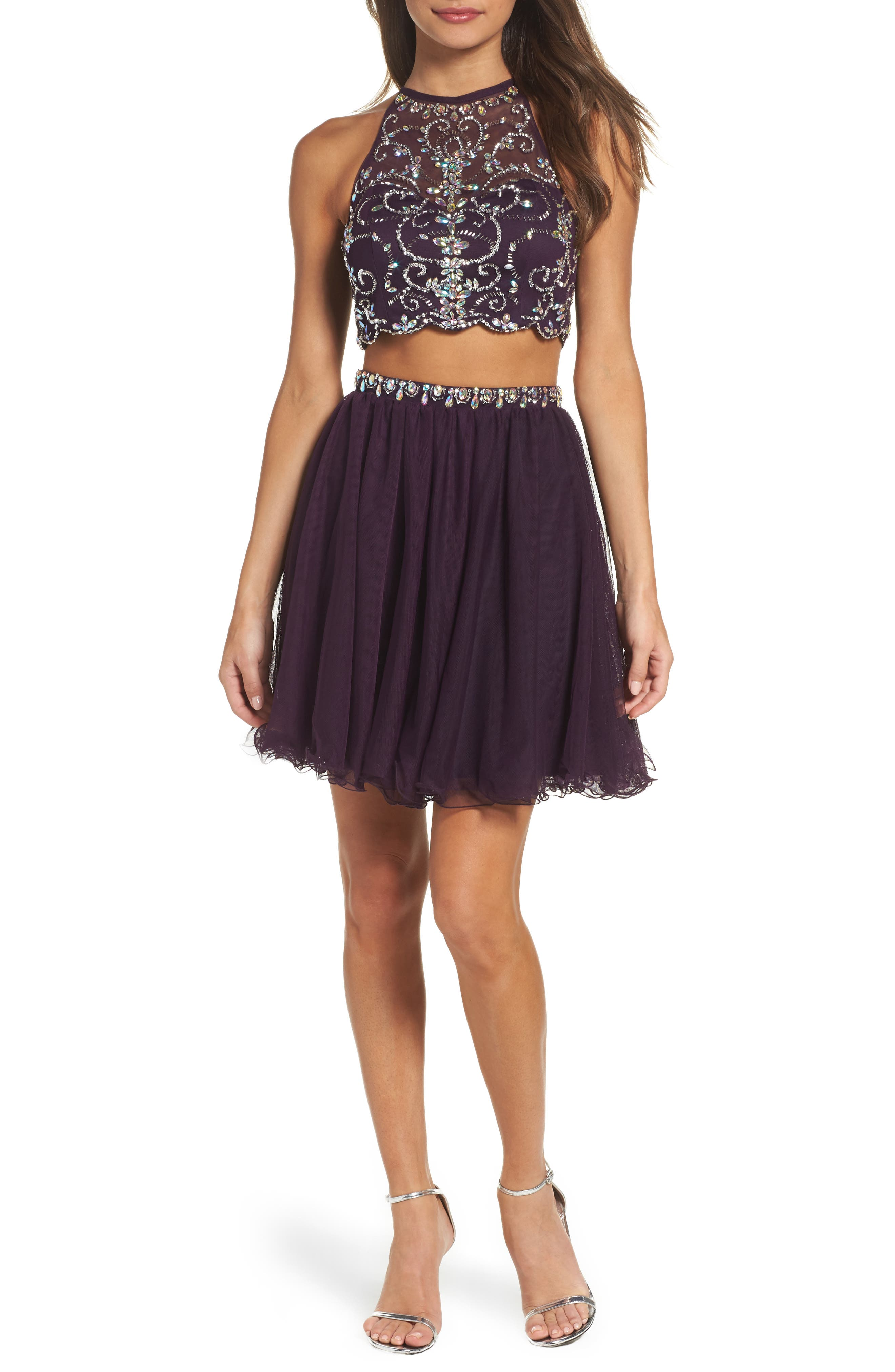 Embellished Two-Piece Fit & Flare Dress,                         Main,                         color, Plum Stone