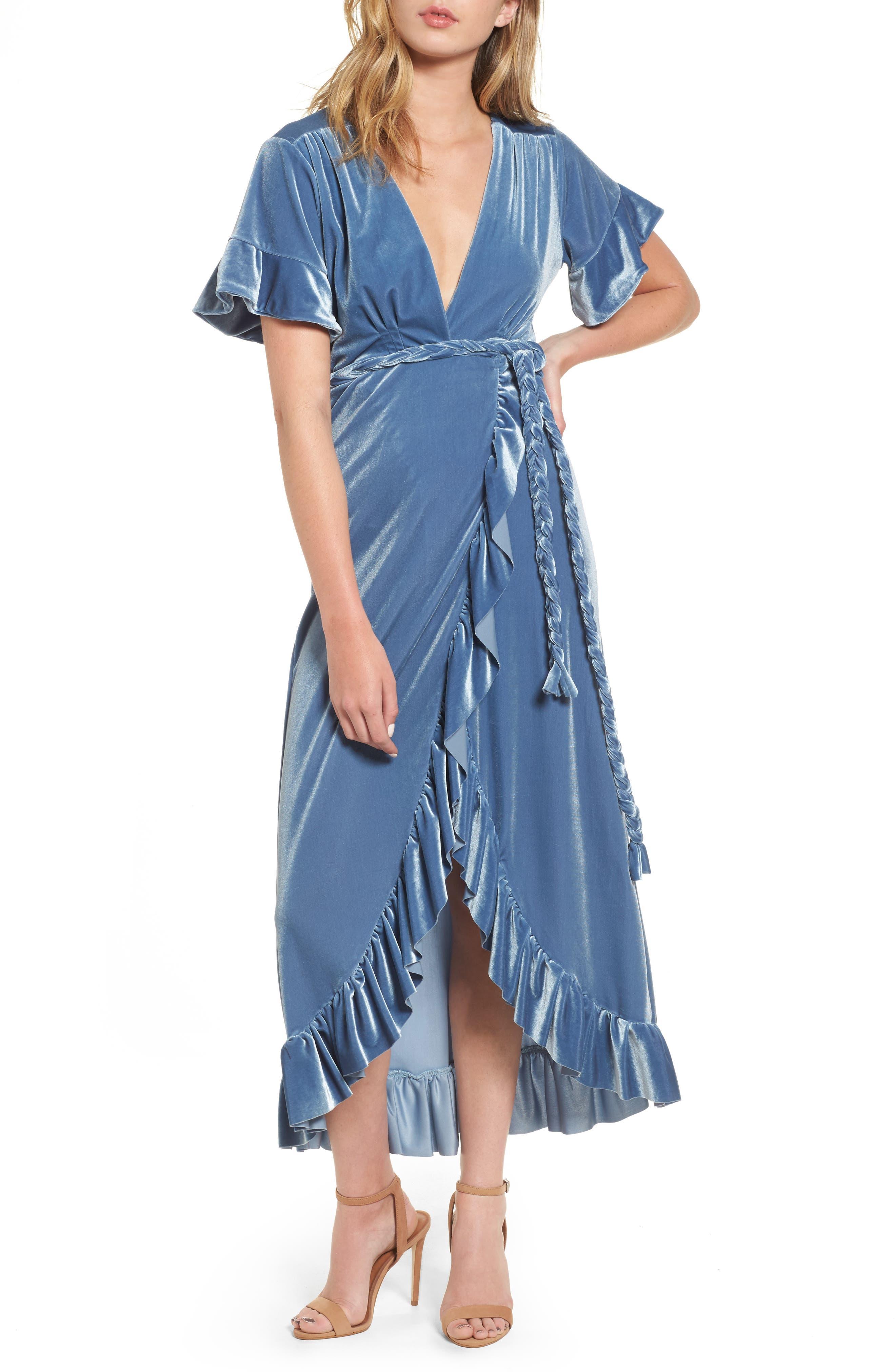 Selina Velvet Wrap Dress,                             Main thumbnail 1, color,                             Blue Velvet