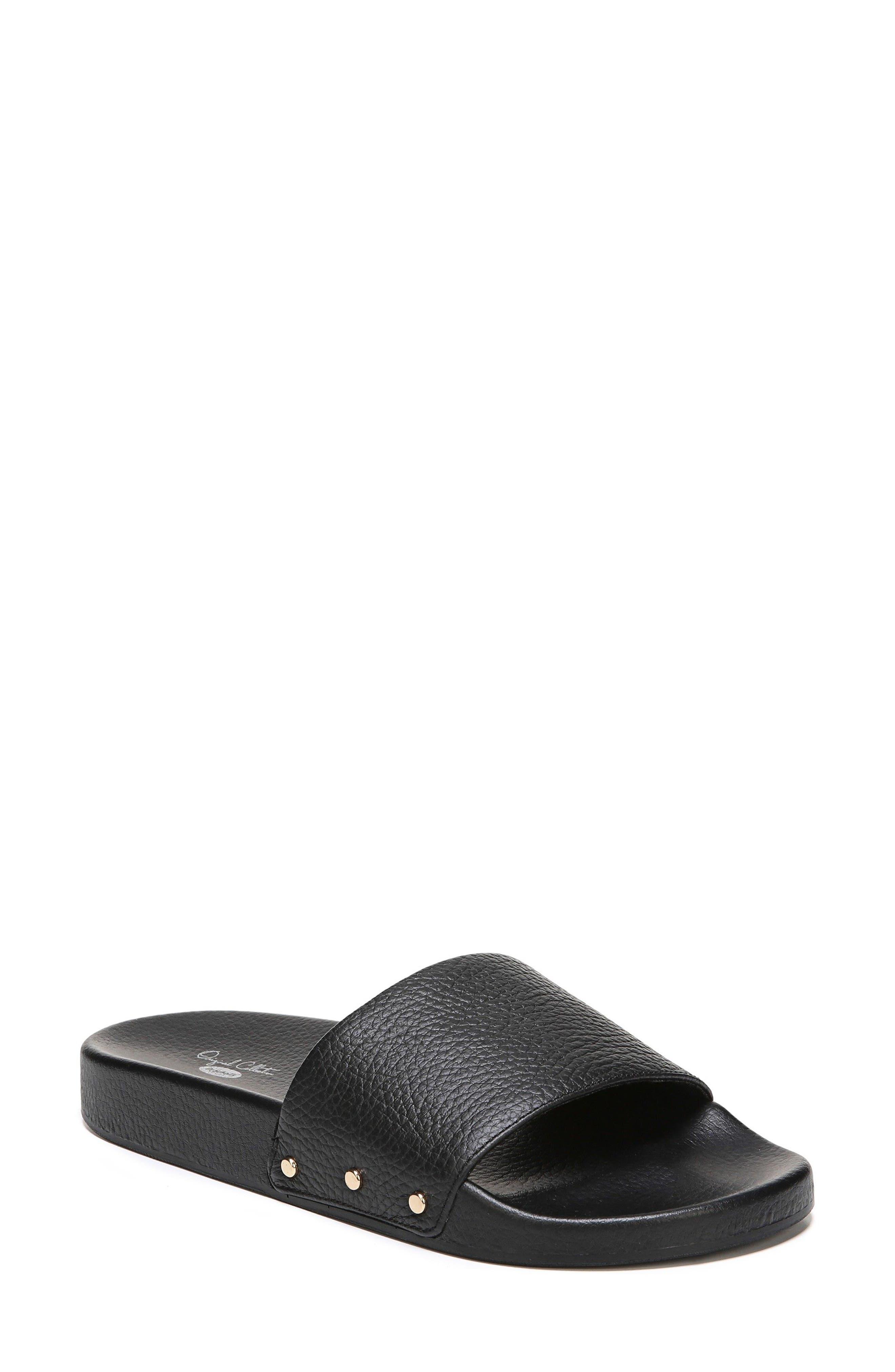Pisces Slide Sandal,                             Main thumbnail 1, color,                             Black Leather