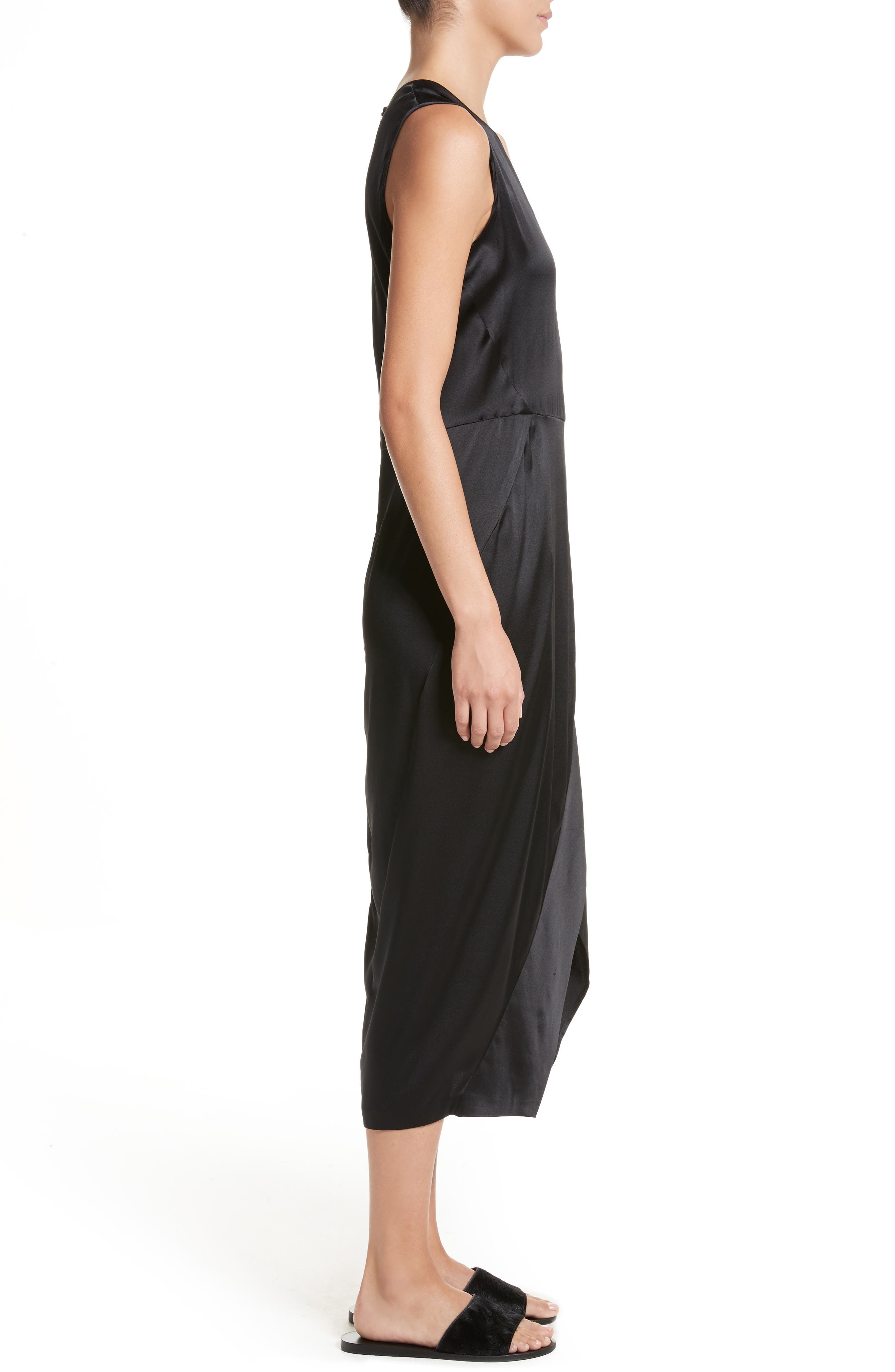 Mylla Stretch Silk Charmeuse Dress,                             Alternate thumbnail 3, color,                             Shiny Black