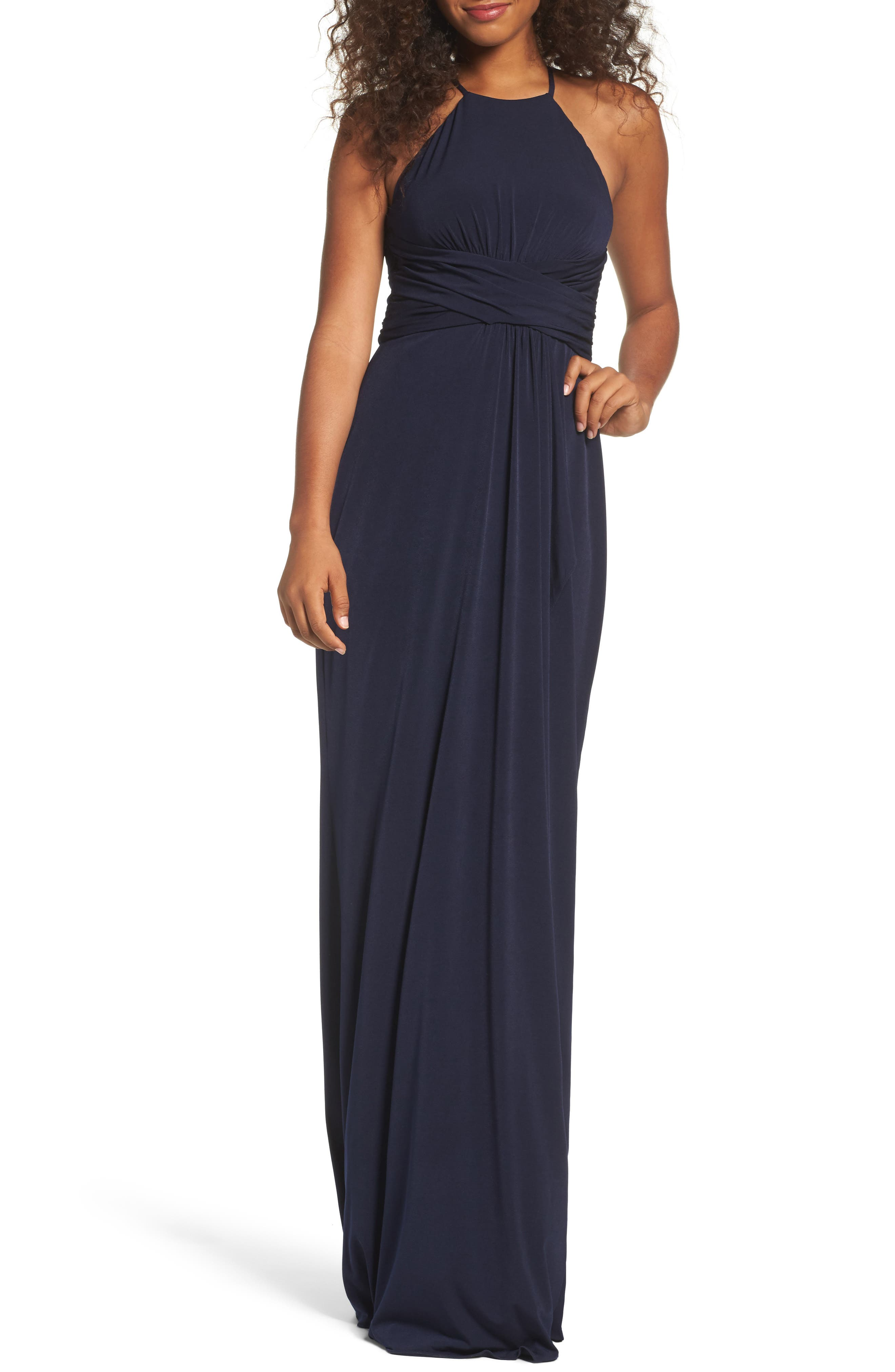 Jones Ruched Halter Gown,                             Main thumbnail 1, color,                             Navy