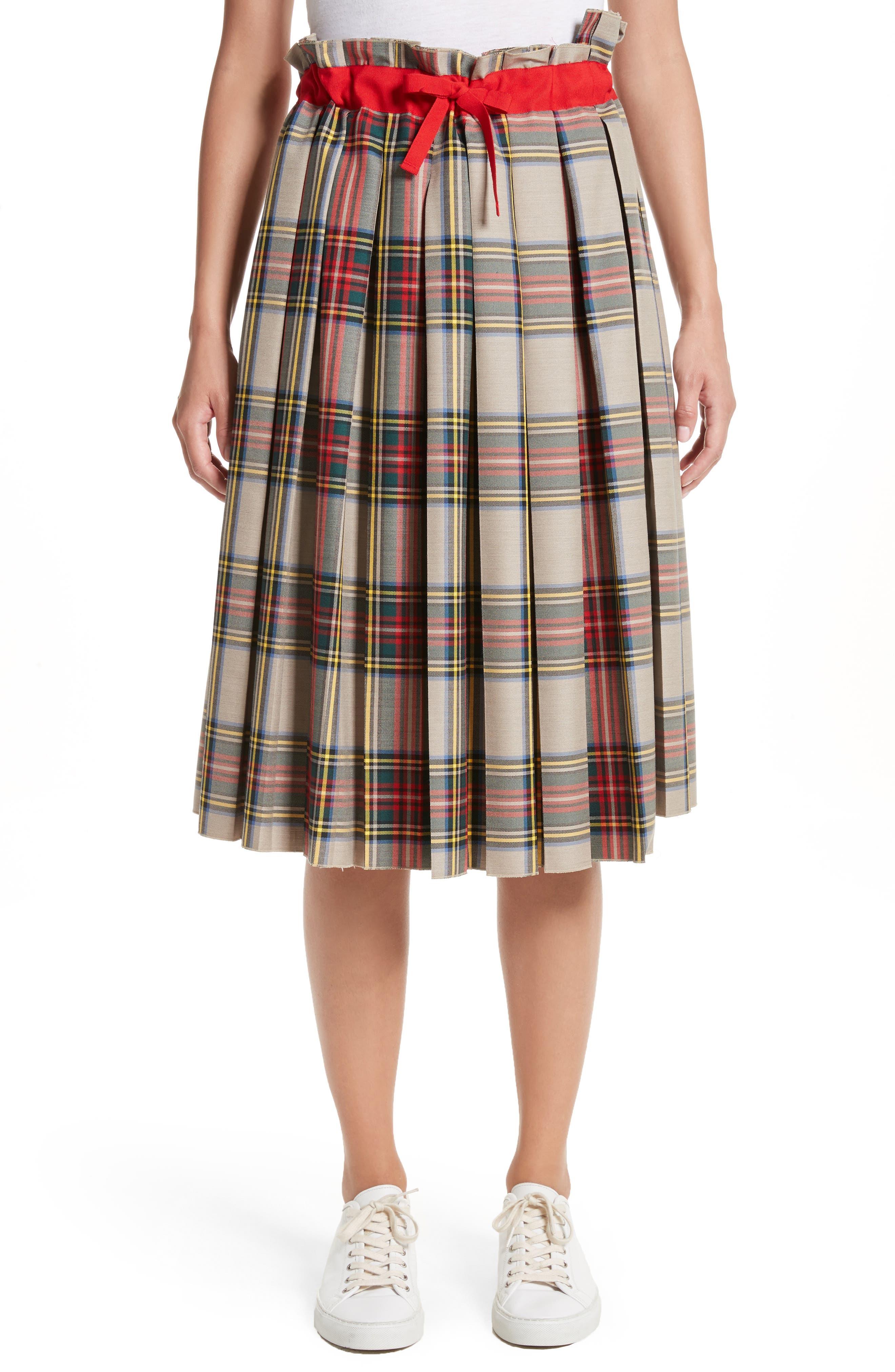 Pleated Technical Gabardine Skirt,                         Main,                         color, Clan