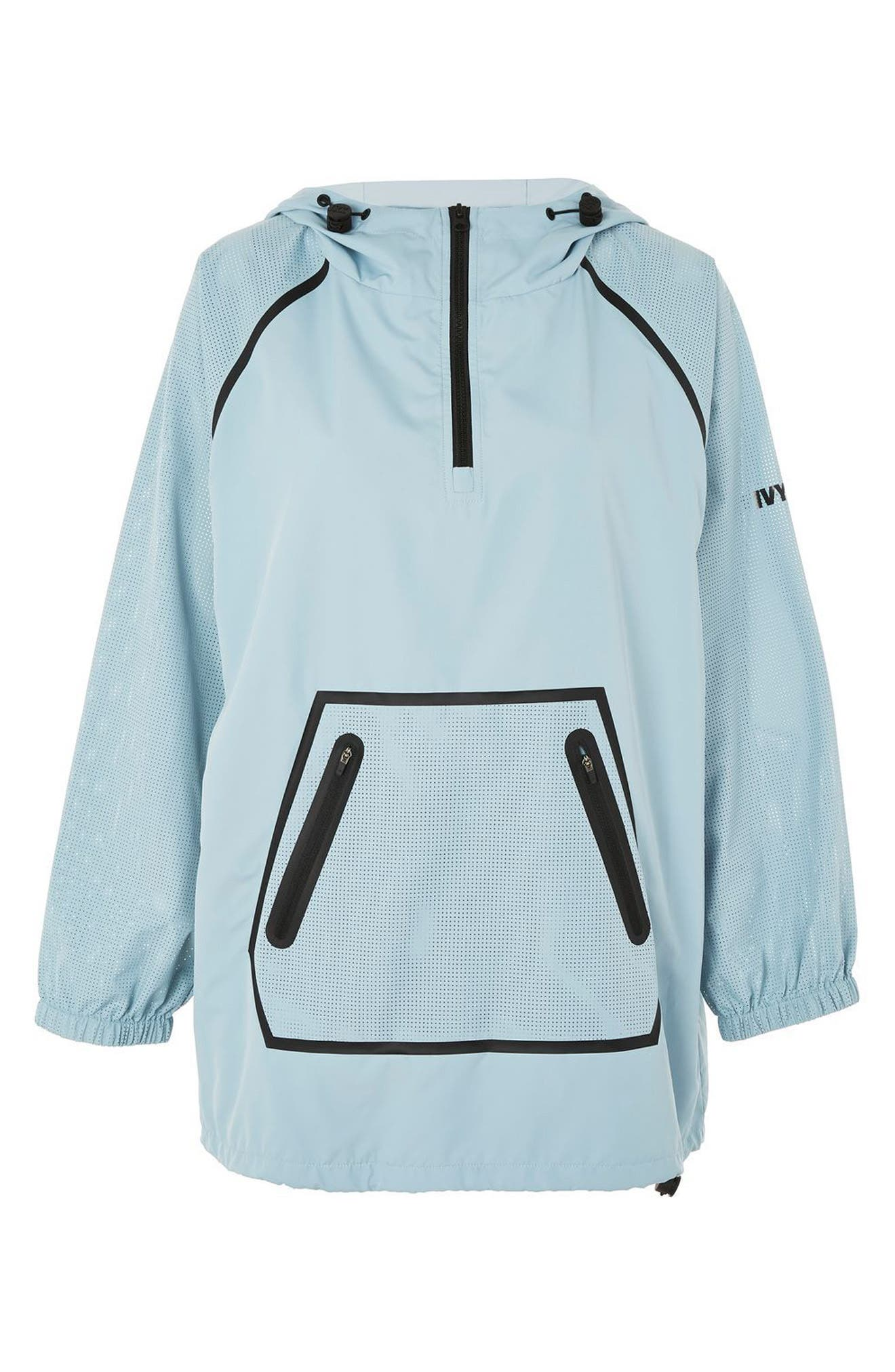 Perforated Pullover Jacket,                             Alternate thumbnail 4, color,                             Porcelain Blue
