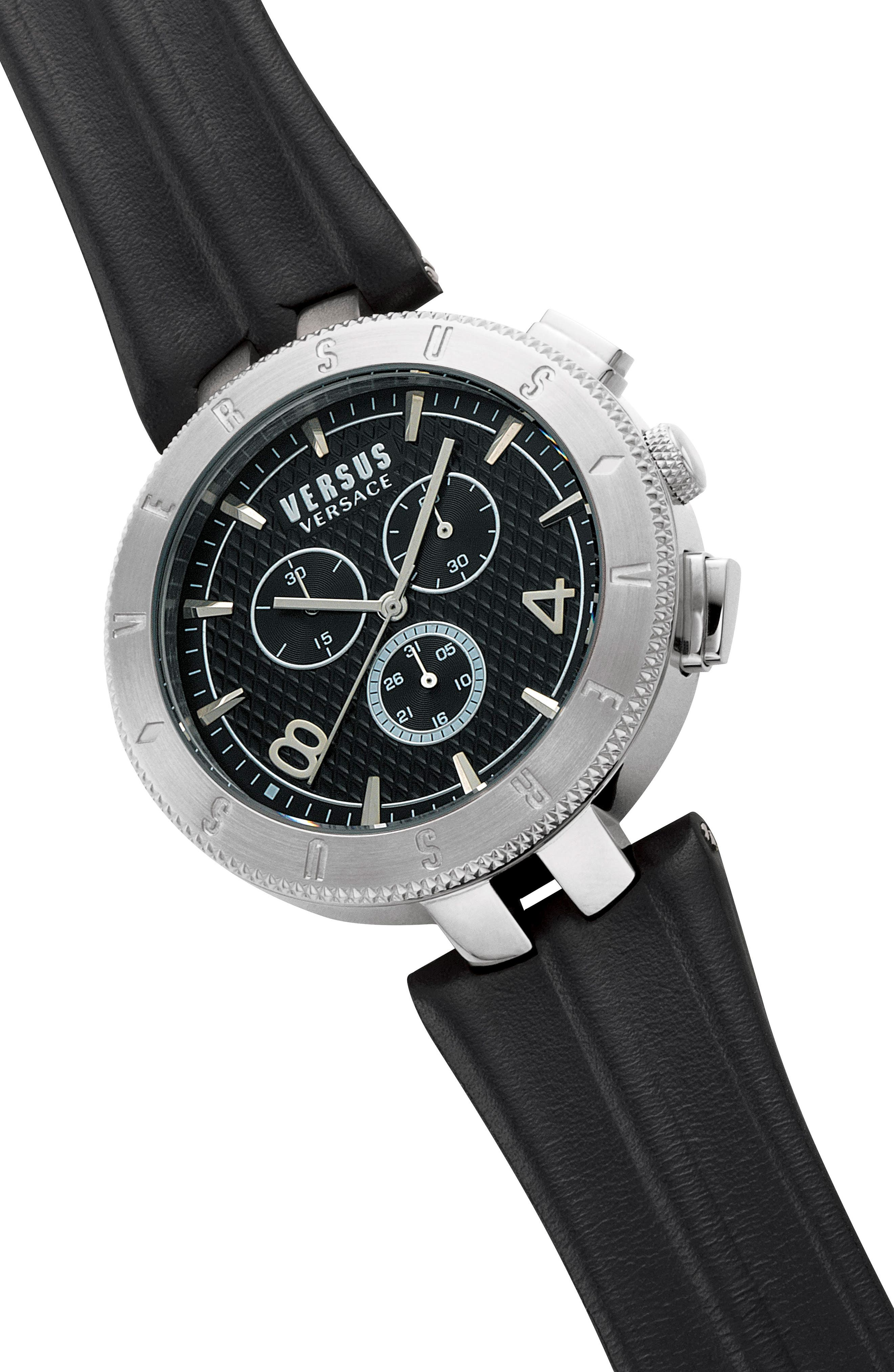 Versus by Versace Logo Chronograph Leather Strap Watch, 44mm,                             Alternate thumbnail 3, color,                             Black/ Silver