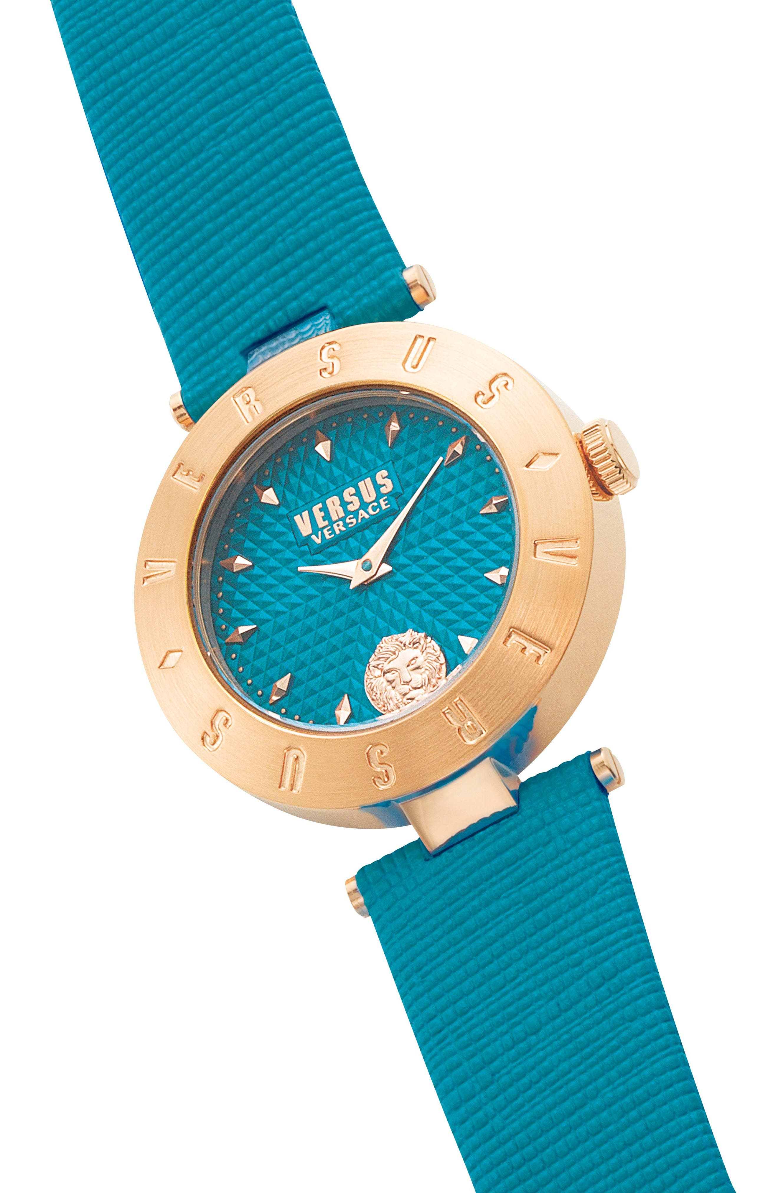 Versus by Versace New Logo Leather Strap Watch, 34mm,                             Alternate thumbnail 3, color,                             Green/ Gold