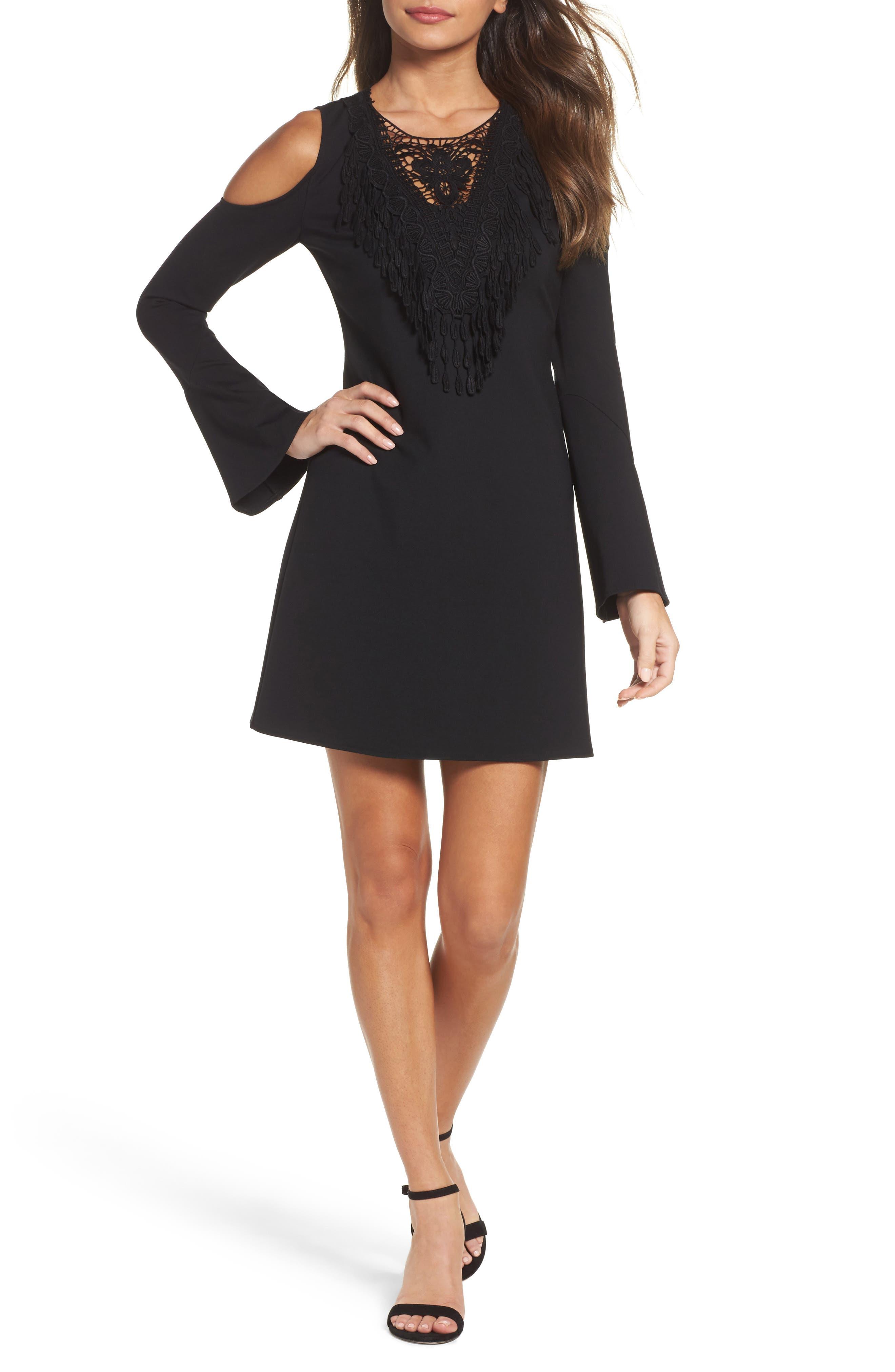 Brie Double Knit Shift Dress,                         Main,                         color, Black