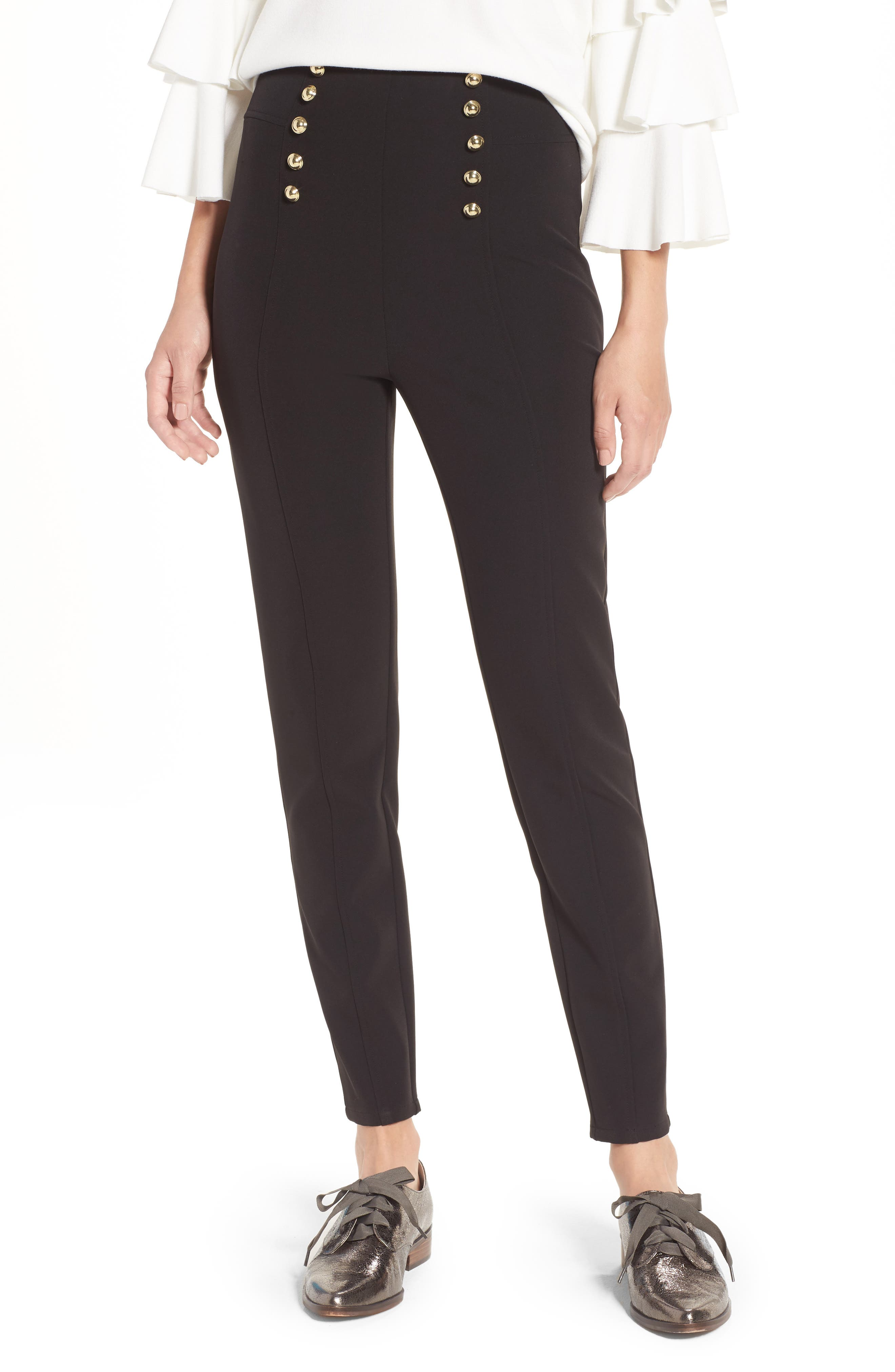 LEITH Button High Waist Ankle Pants