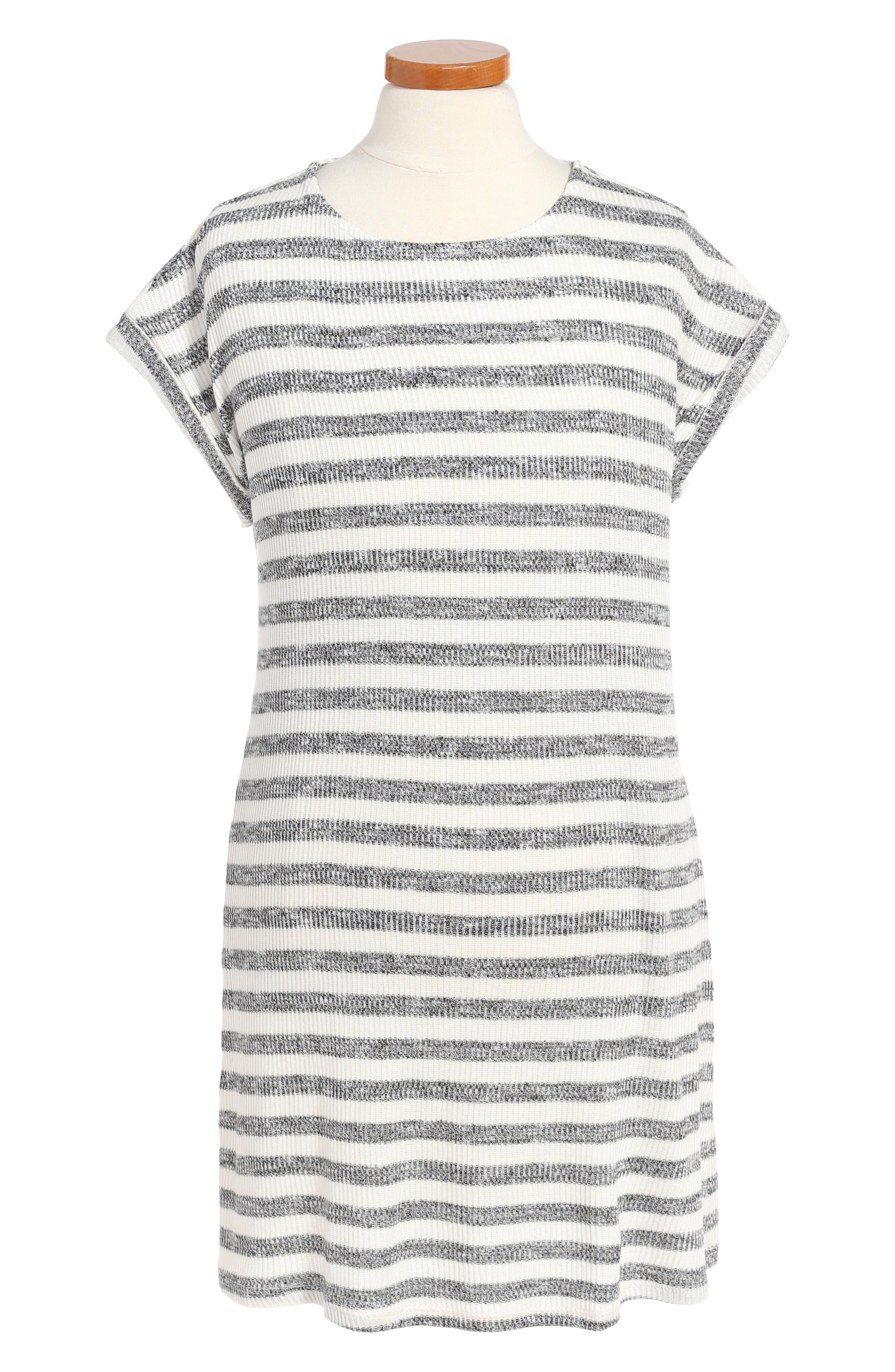 Stripe Knit Dress,                             Main thumbnail 1, color,                             White/ Black