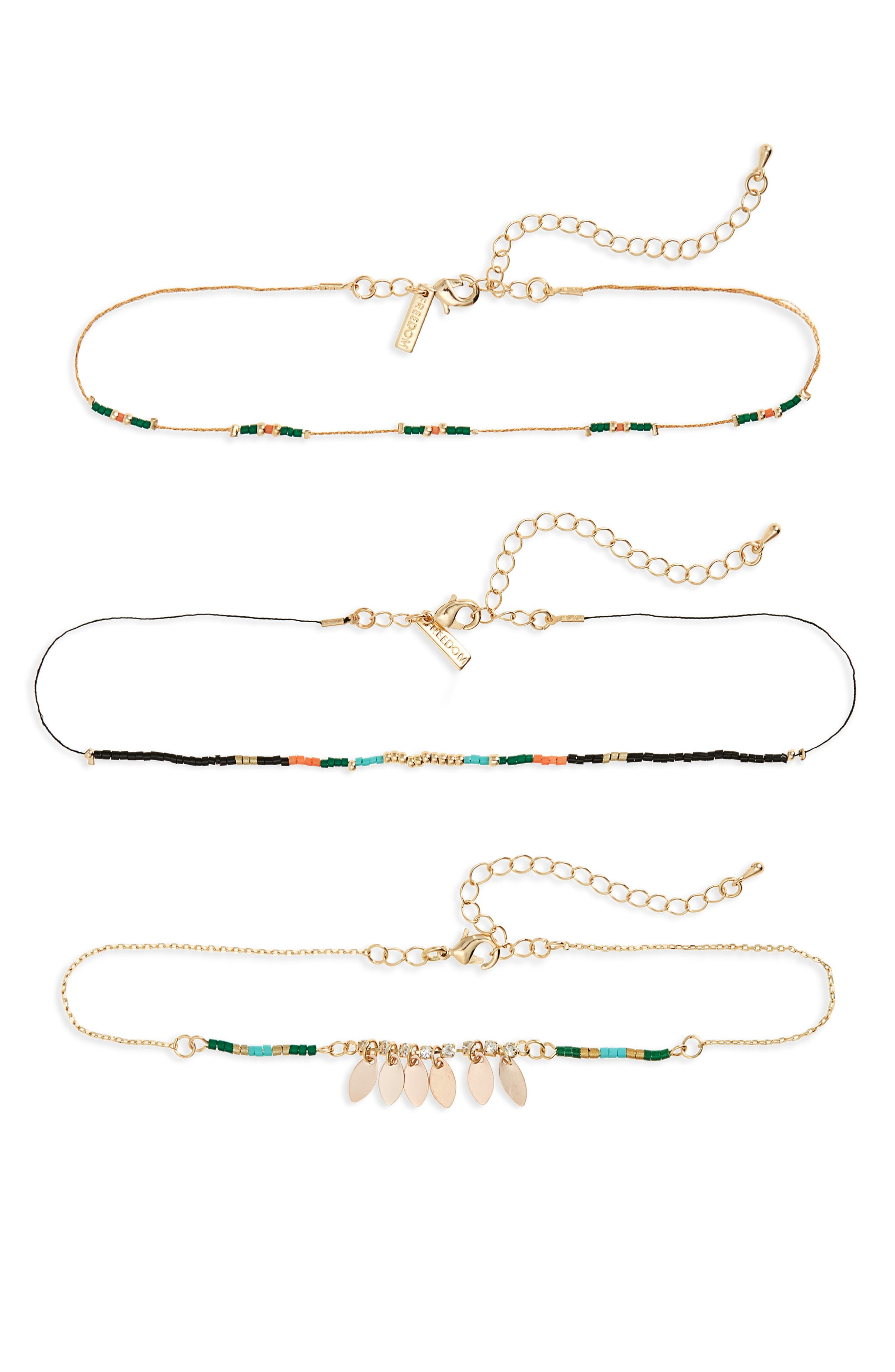 Topshop Set of 3 Beaded Chokers