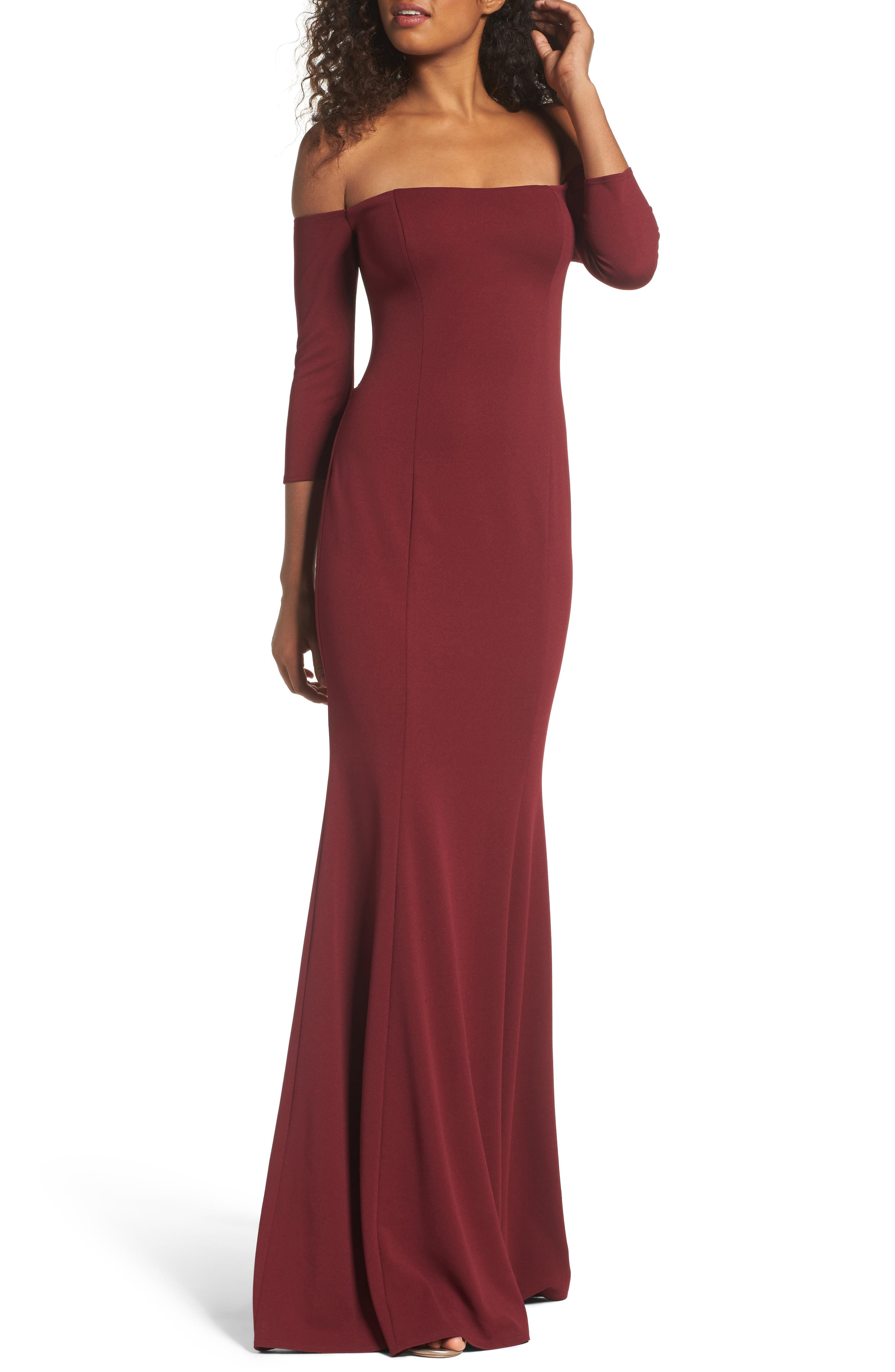 Brentwood Three-Quarter Sleeve Off the Shoulder Gown,                             Main thumbnail 1, color,                             Bordeaux