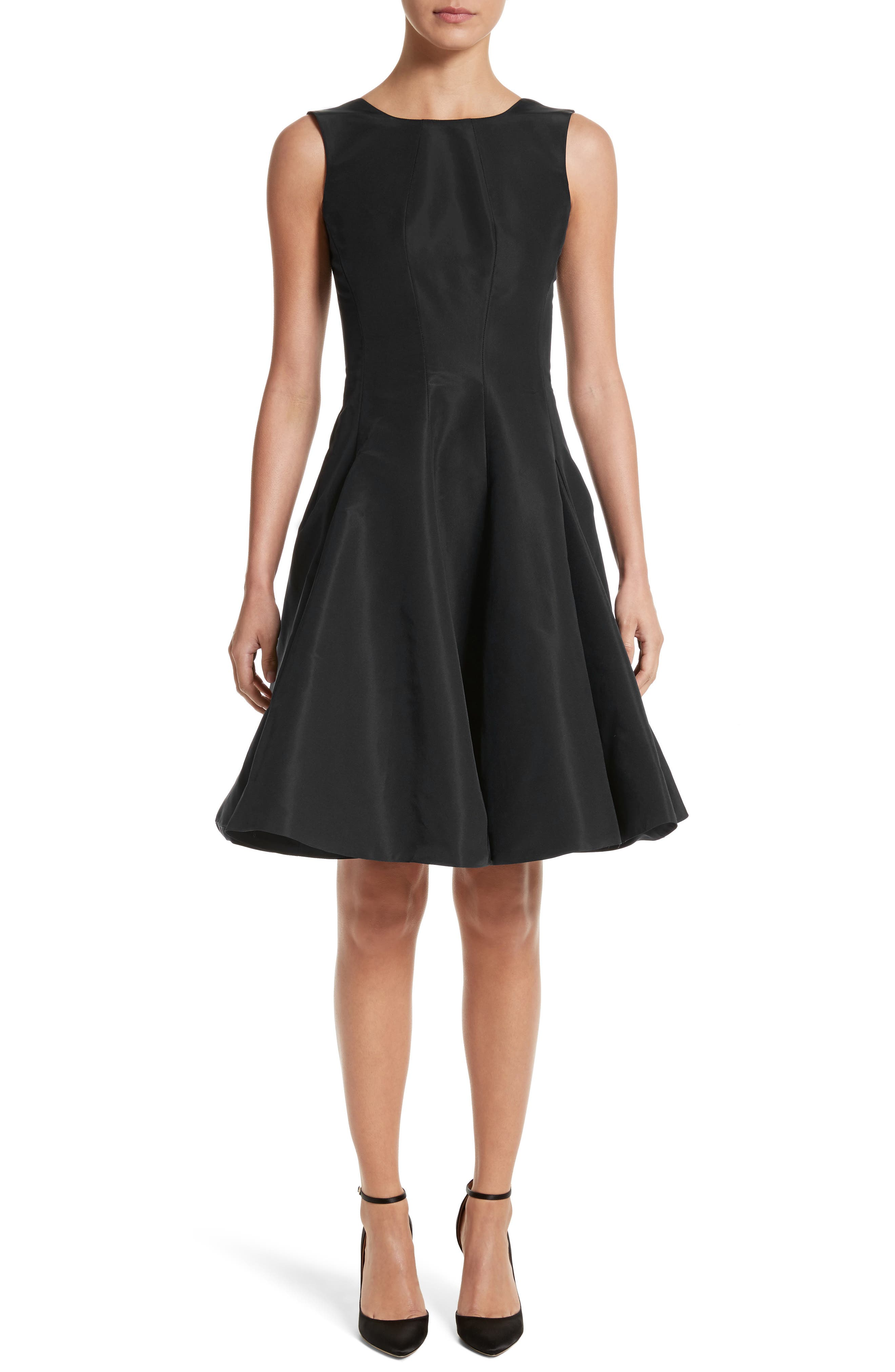 Scoop Back Pleat Silk Faille Dress,                             Main thumbnail 1, color,                             Black