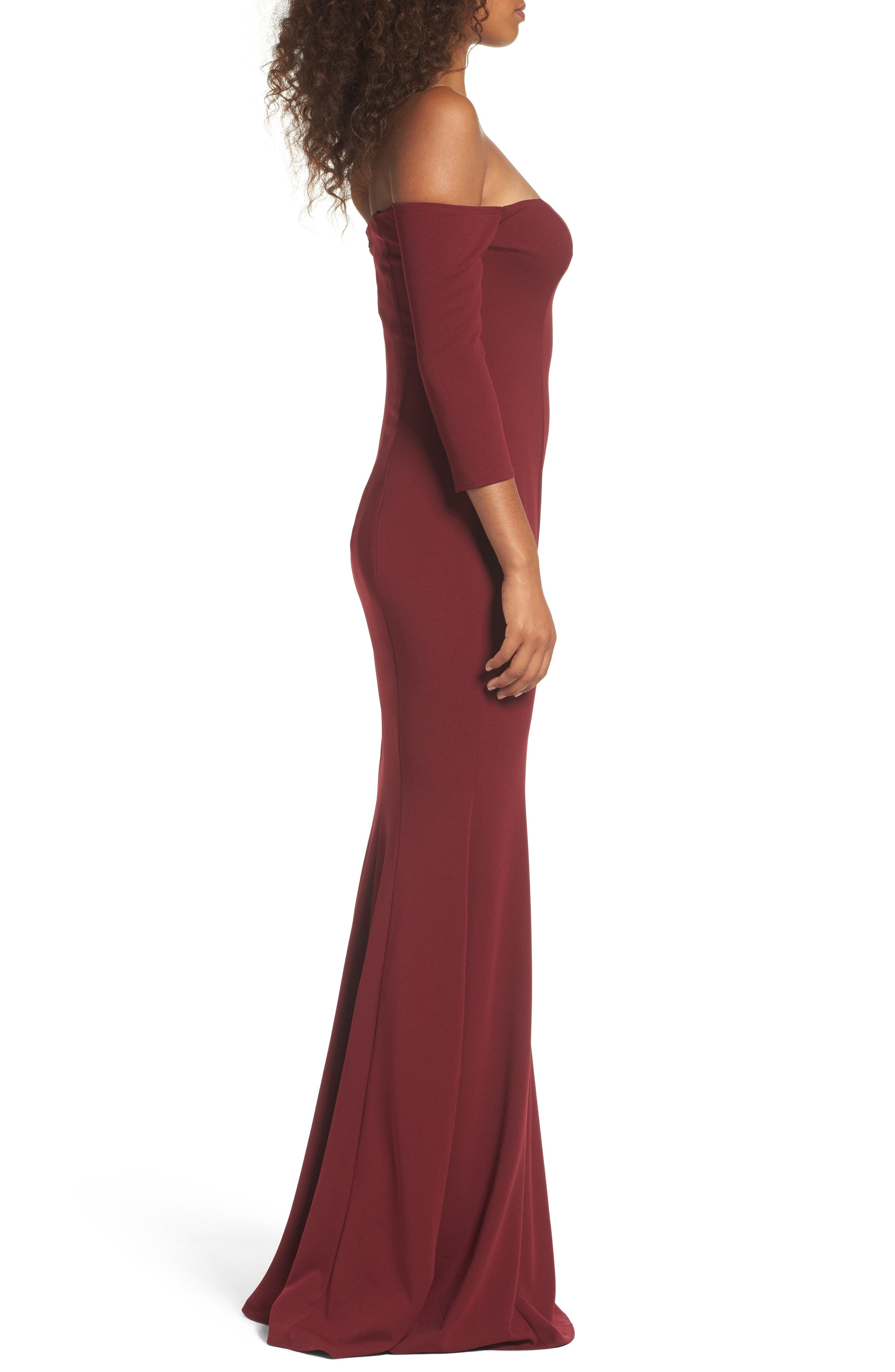 Brentwood Three-Quarter Sleeve Off the Shoulder Gown,                             Alternate thumbnail 4, color,                             Bordeaux