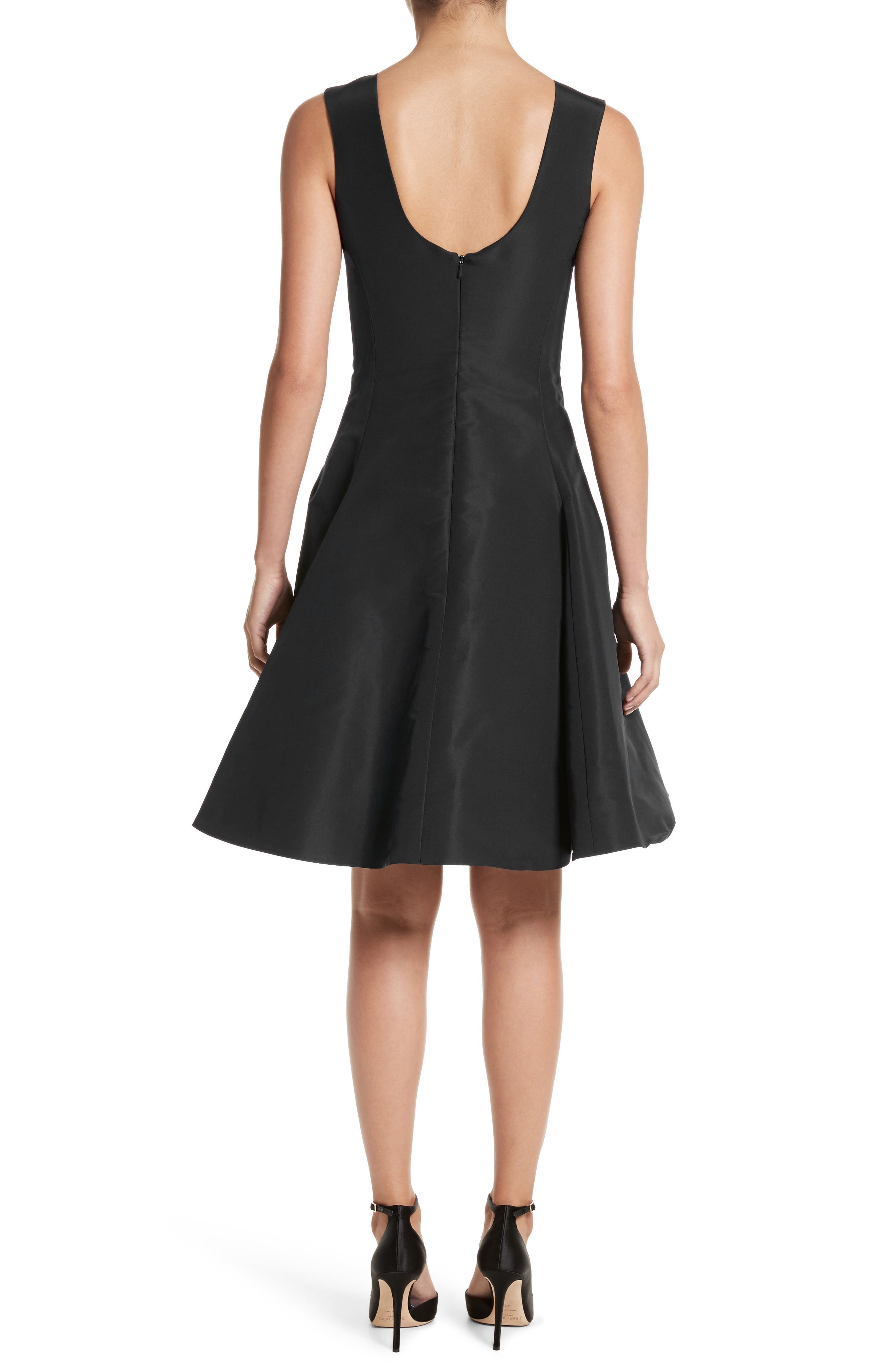 Scoop Back Pleat Silk Faille Dress,                             Alternate thumbnail 2, color,                             Black