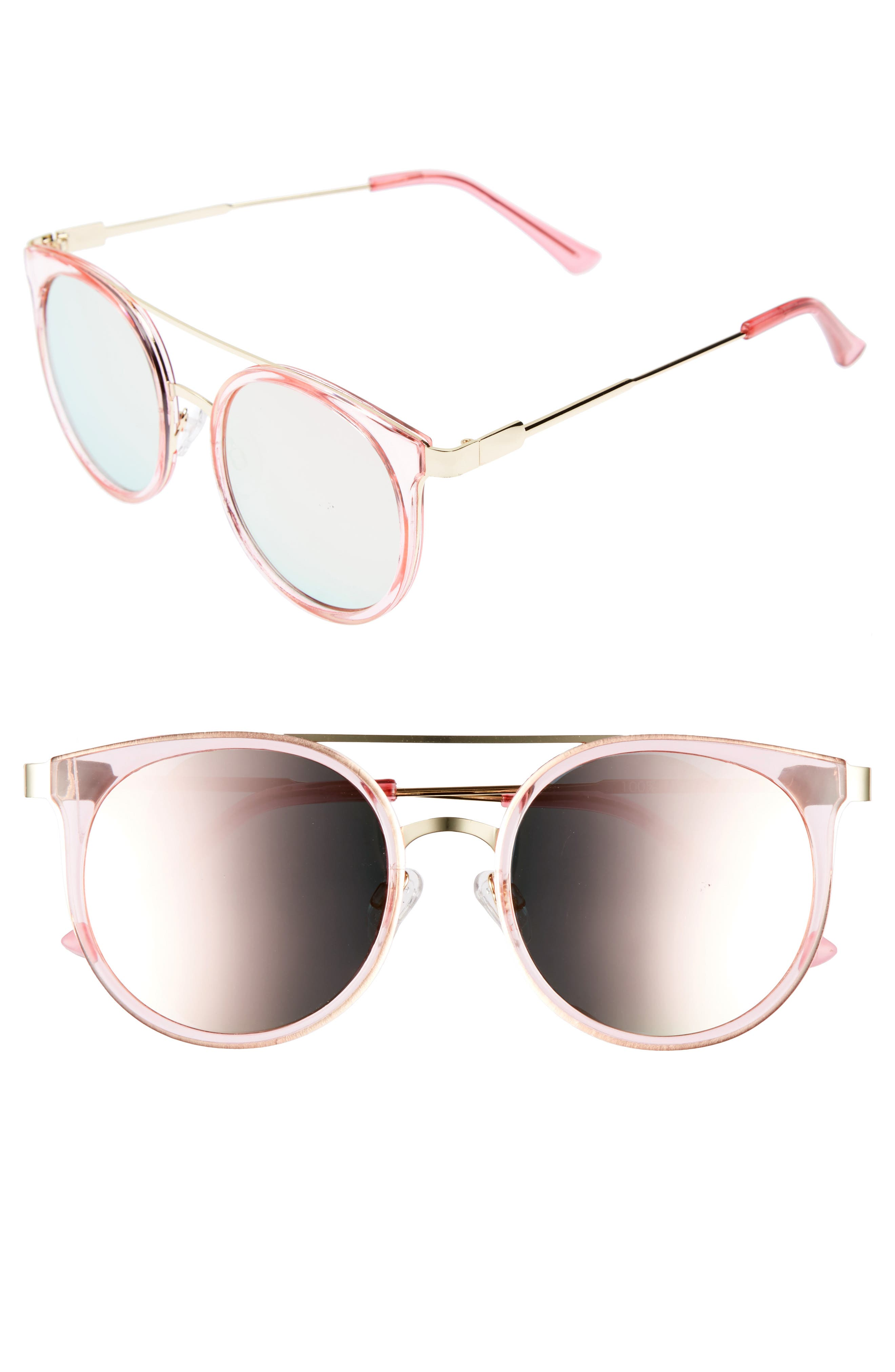 52mm Mirror Lens Round Sunglasses,                             Main thumbnail 1, color,                             Gold/ Pink