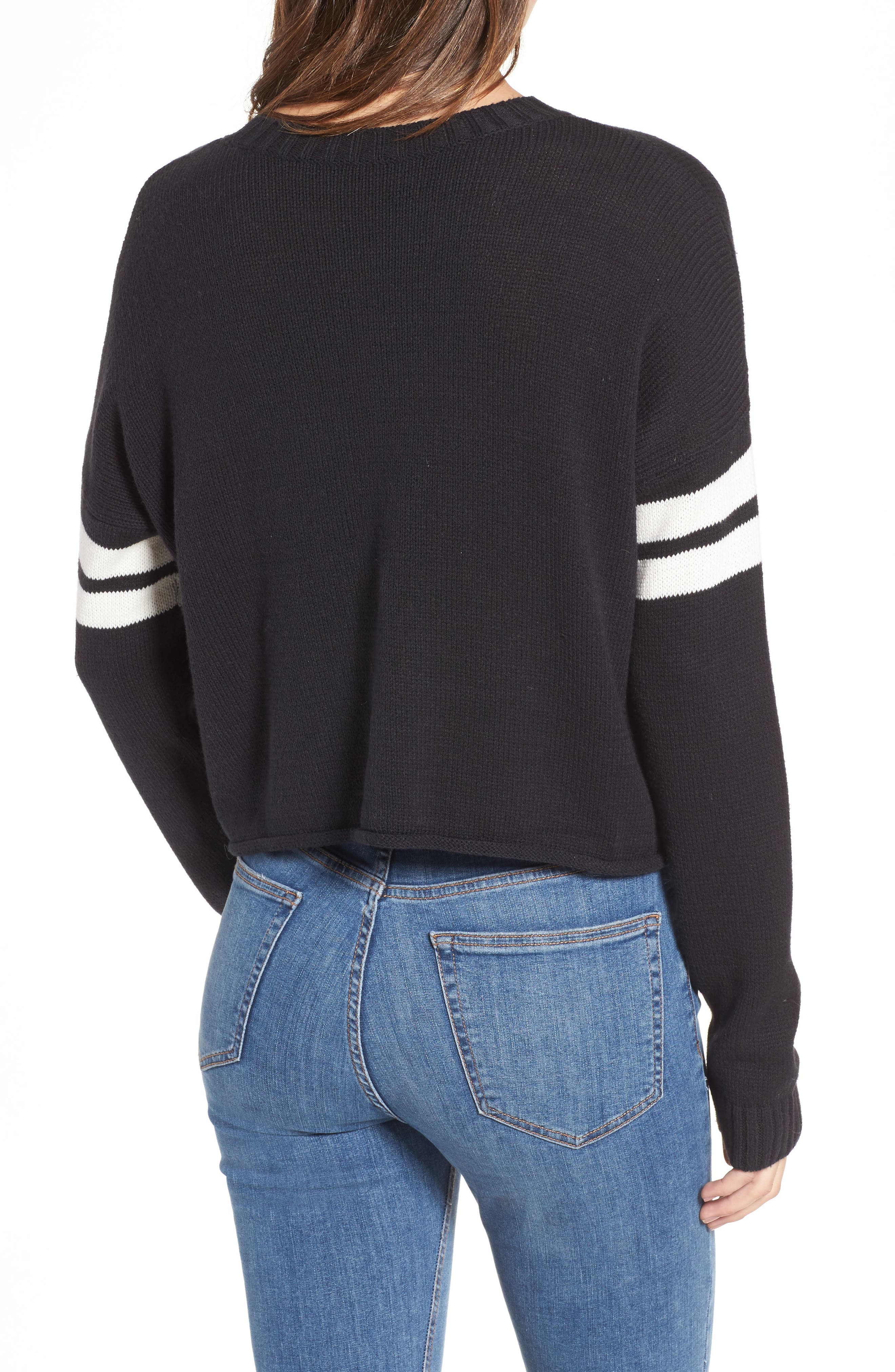 Crop Varsity Sweater,                             Alternate thumbnail 2, color,                             Mumu Stripe Black