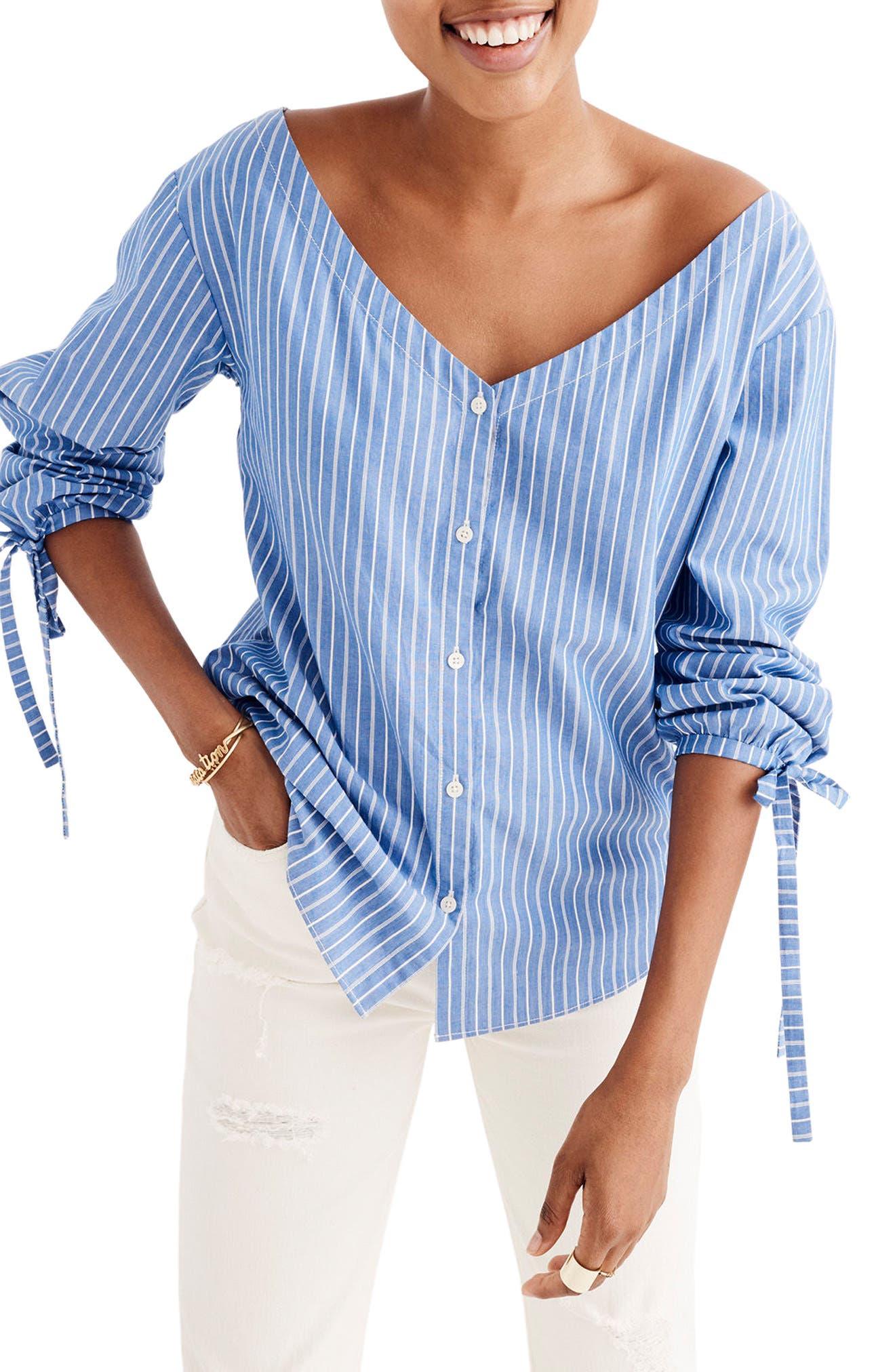 Madewell Morningview Stripe Tie Sleeve Shirt