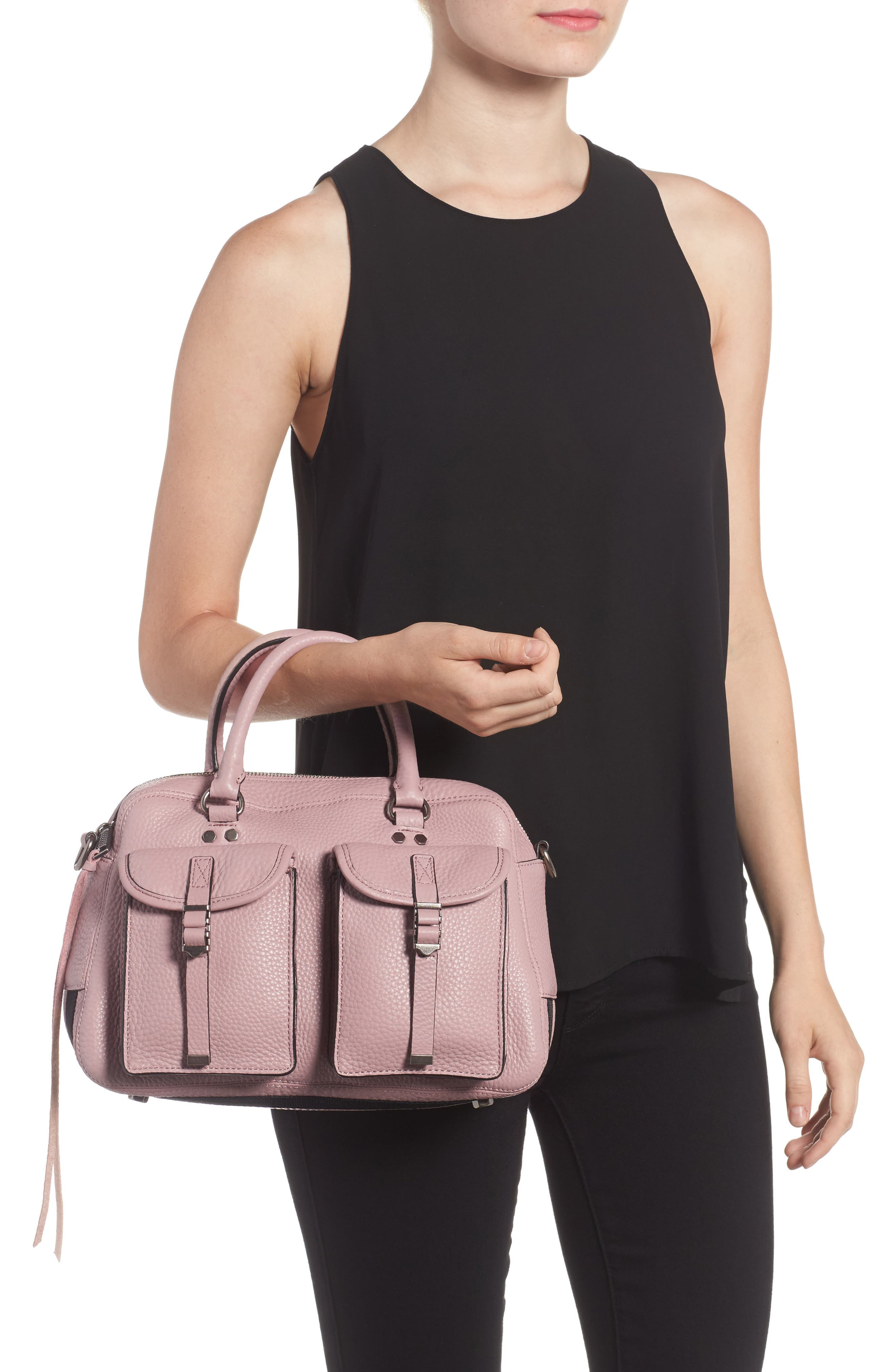Military Pocket Leather Satchel,                             Alternate thumbnail 2, color,                             Vintage Pink