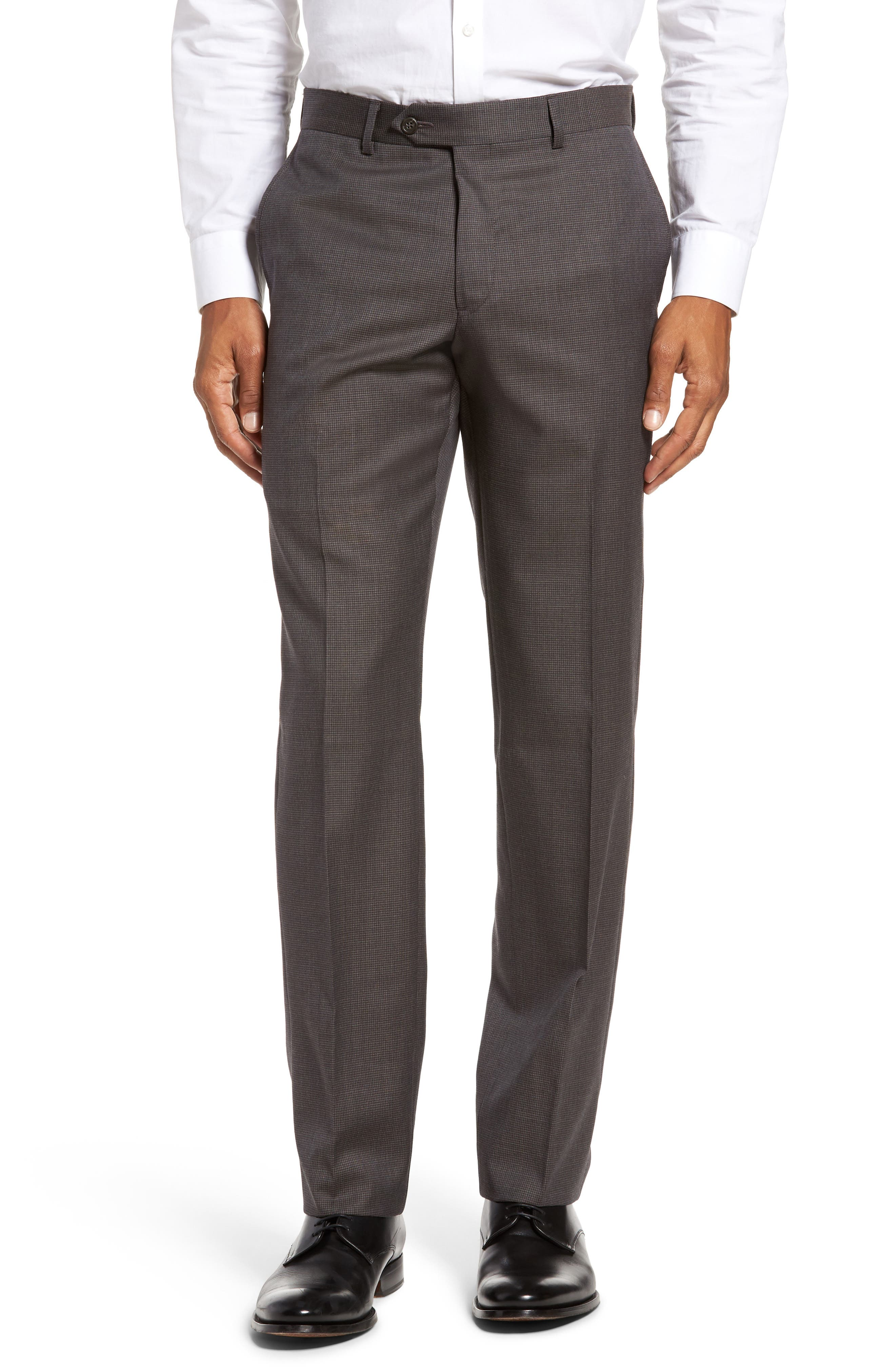 Nordstrom Men's Shop Flat Front Check Wool Trousers