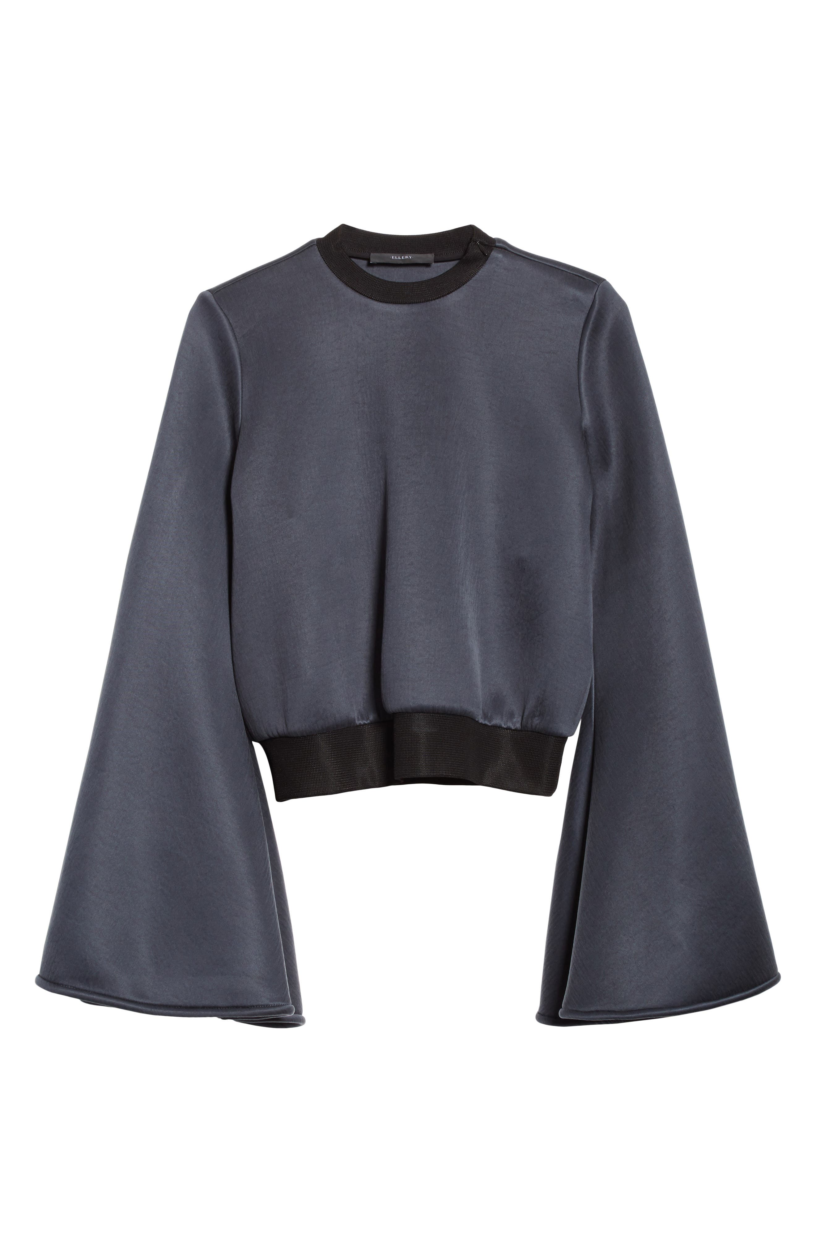 Immortal Flare Sleeve Sweater,                             Alternate thumbnail 4, color,                             Charcoal Navy