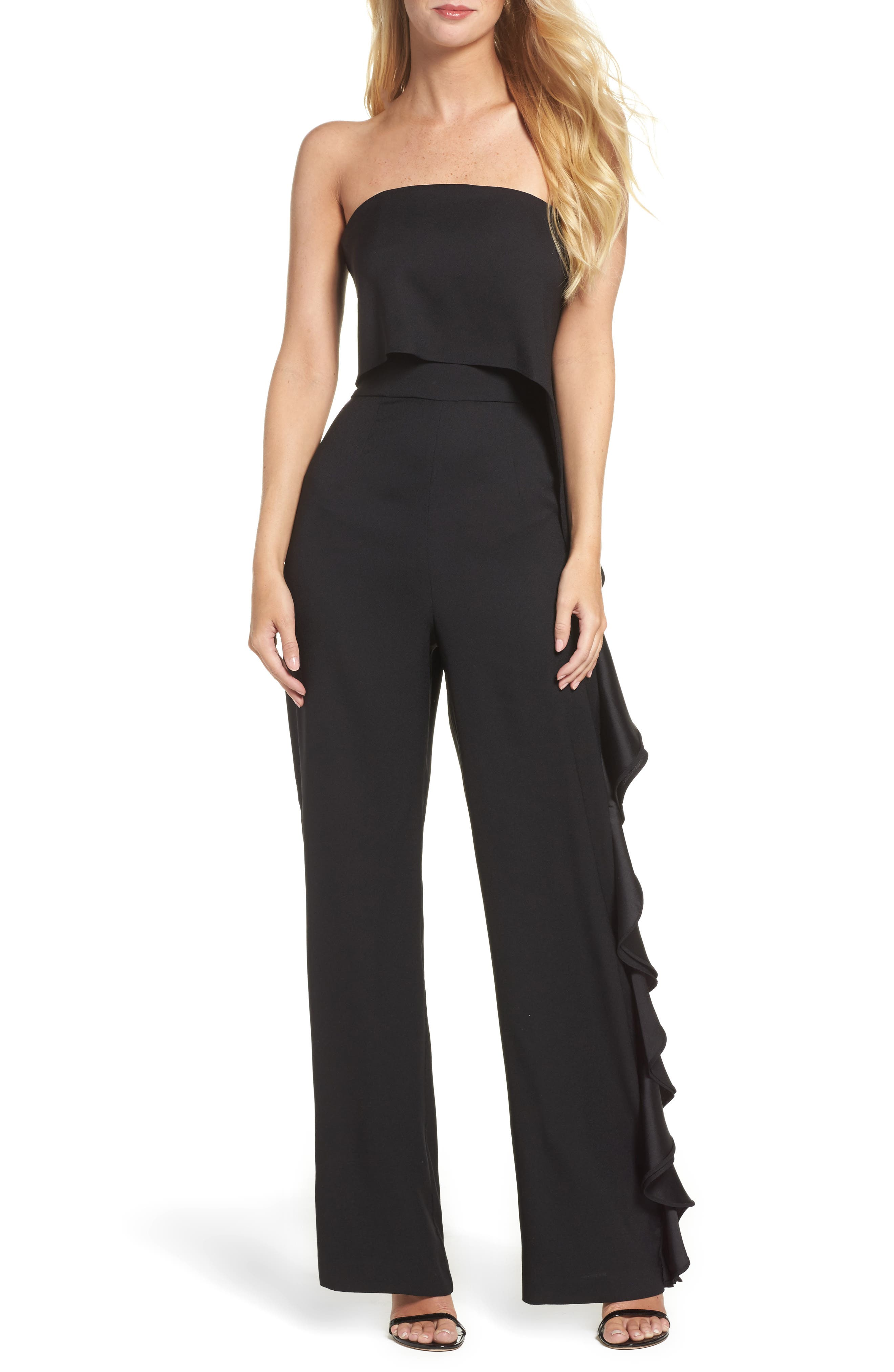 Ruffle Side Strapless Jumpsuit,                         Main,                         color, Black