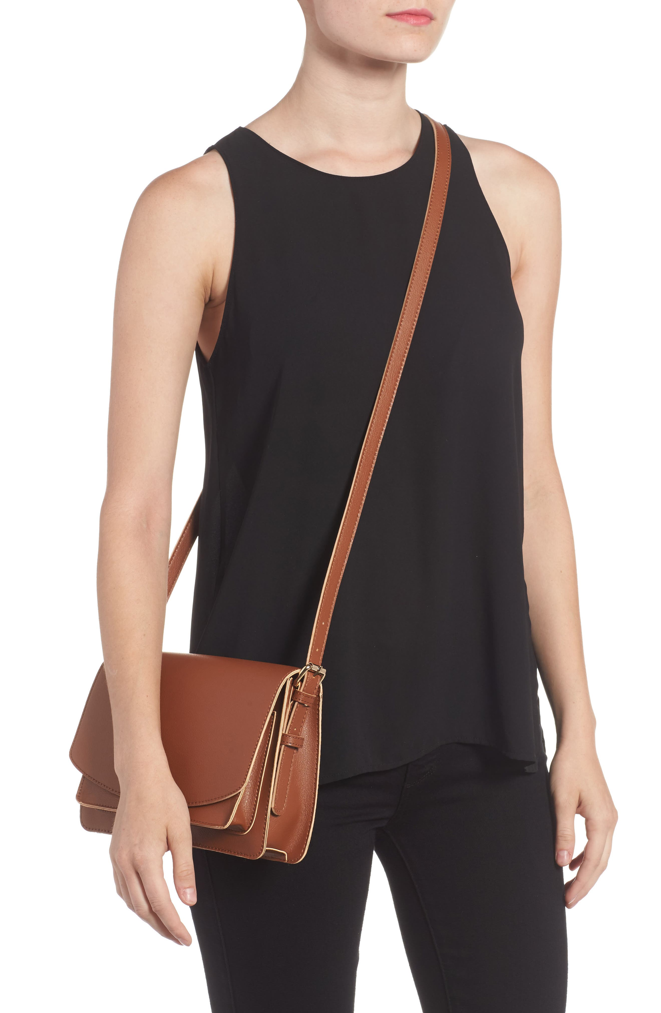'Michelle' Faux Leather Crossbody Bag,                             Alternate thumbnail 2, color,                             New Cognac
