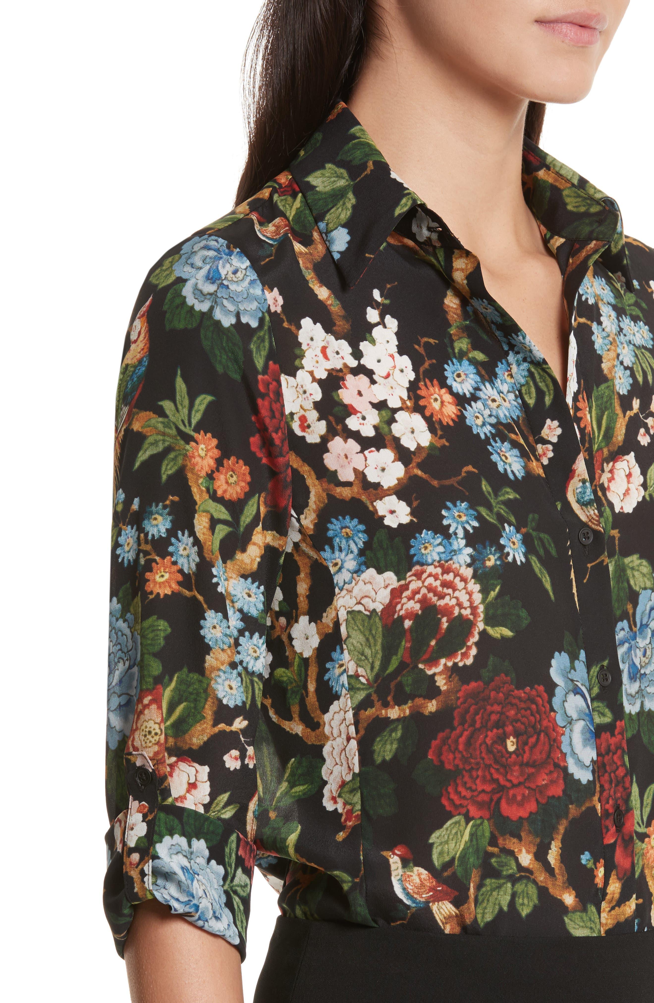 Alternate Image 4  - Alice + Olivia Cal Print Silk Shirt