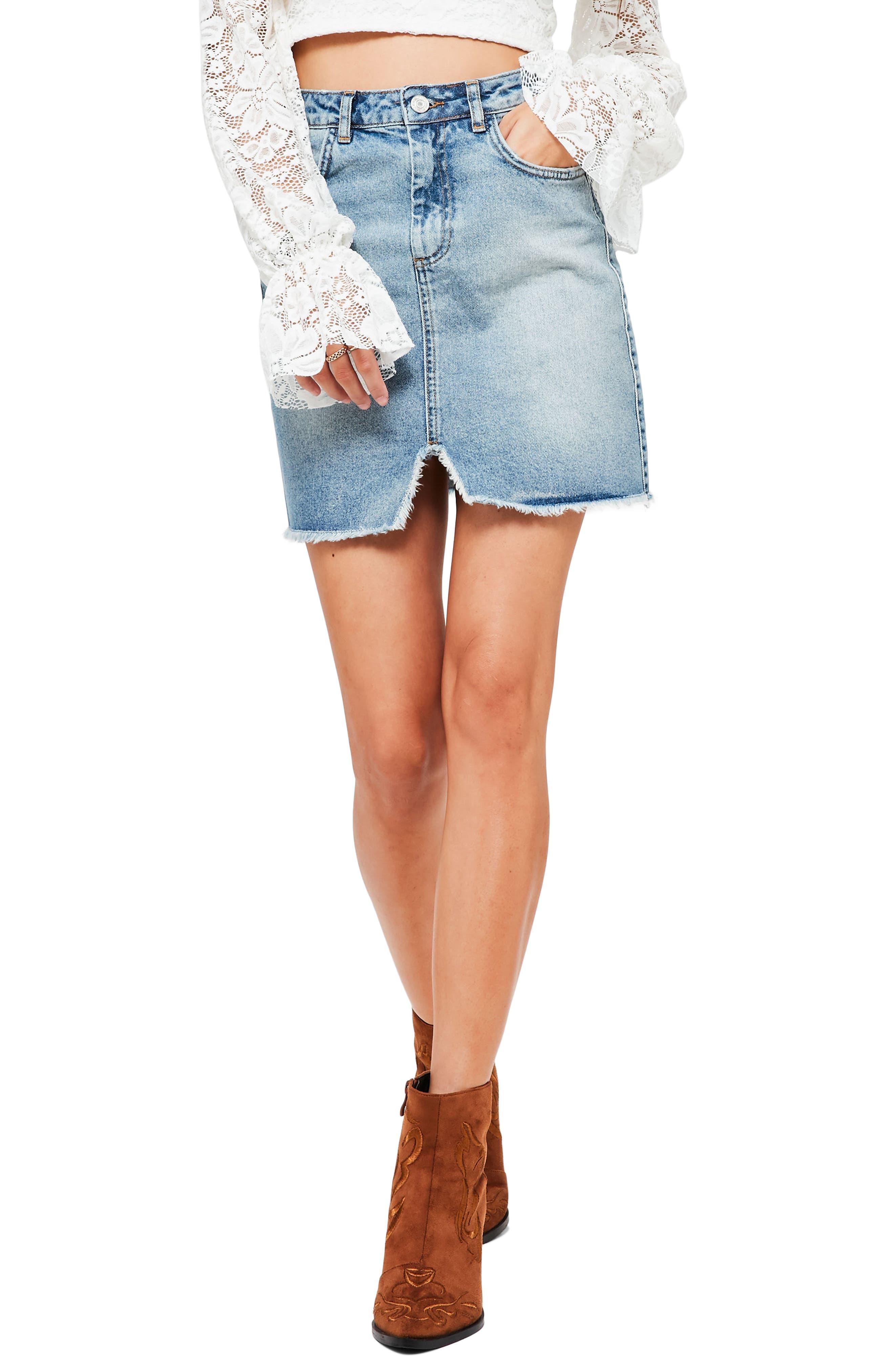 High Rise Denim Miniskirt,                         Main,                         color, Blue