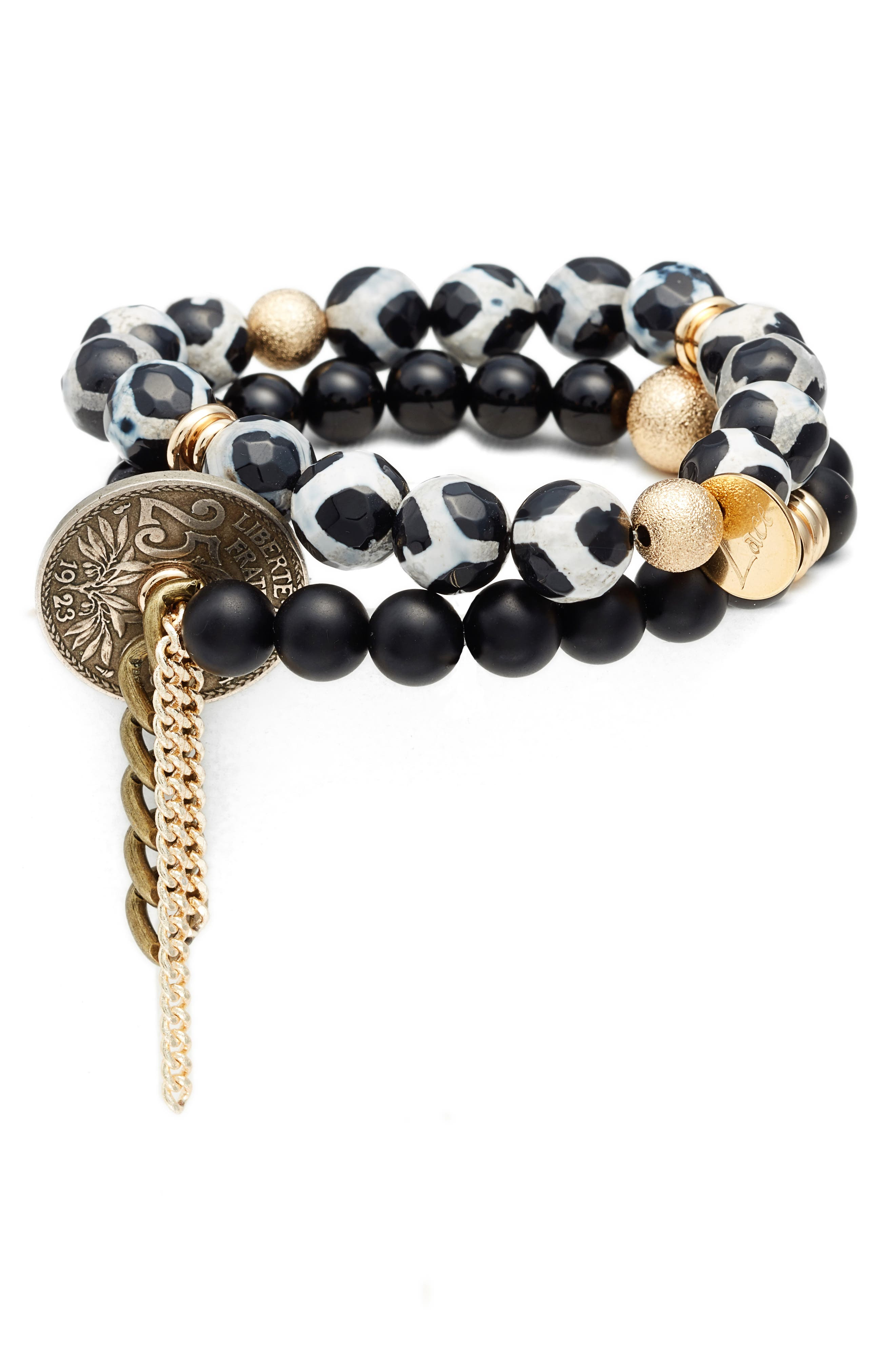 The Lace Project Set of 2 Bead Stretch Bracelets