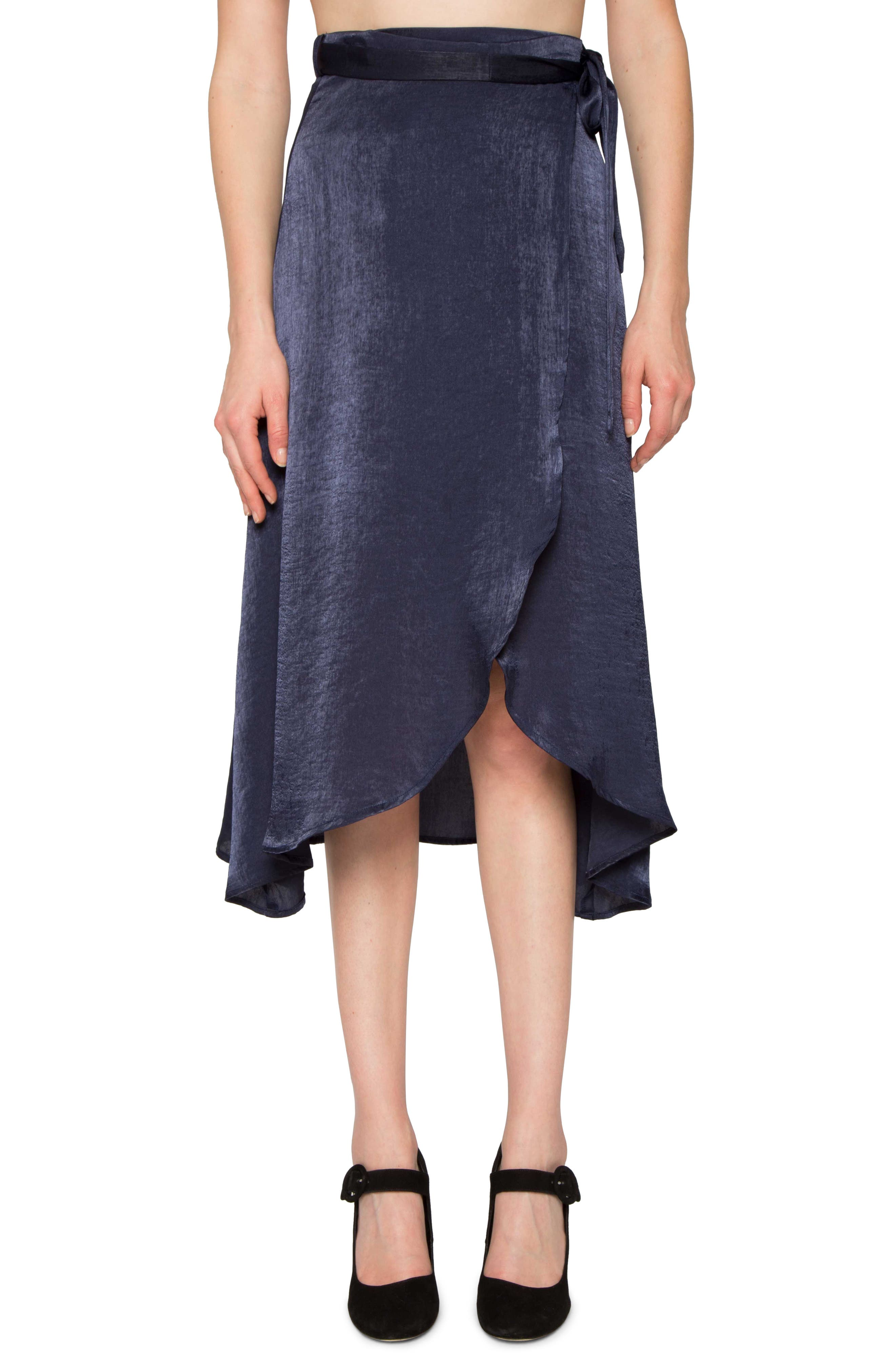 Satin Wrap Skirt,                         Main,                         color, Navy
