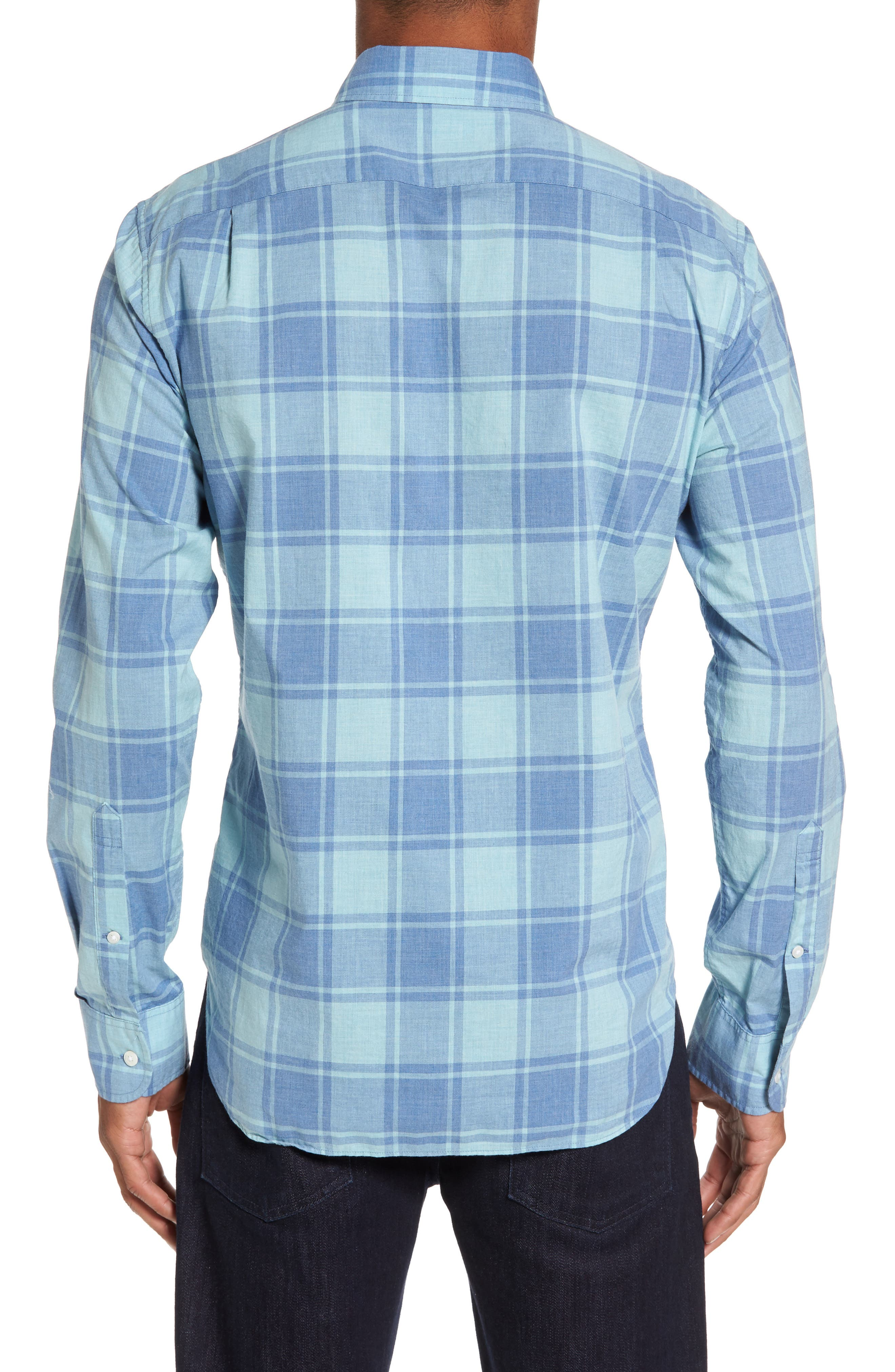 Summerweight Slim Cut Large Check Sport Shirt,                             Alternate thumbnail 2, color,                             Heather Blue Plaid