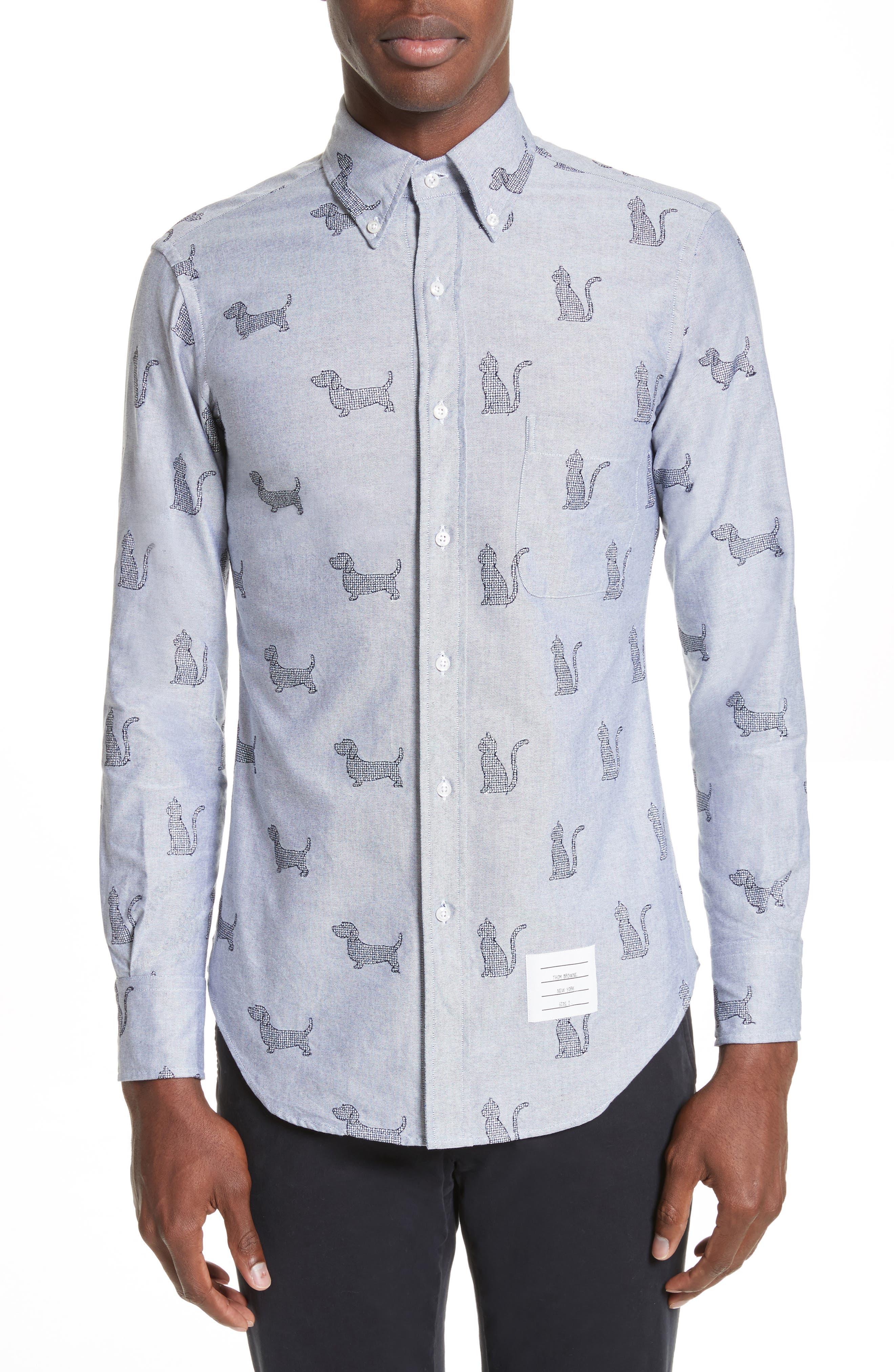 Alternate Image 1 Selected - Thom Browne Daschund Kitty Print Shirt