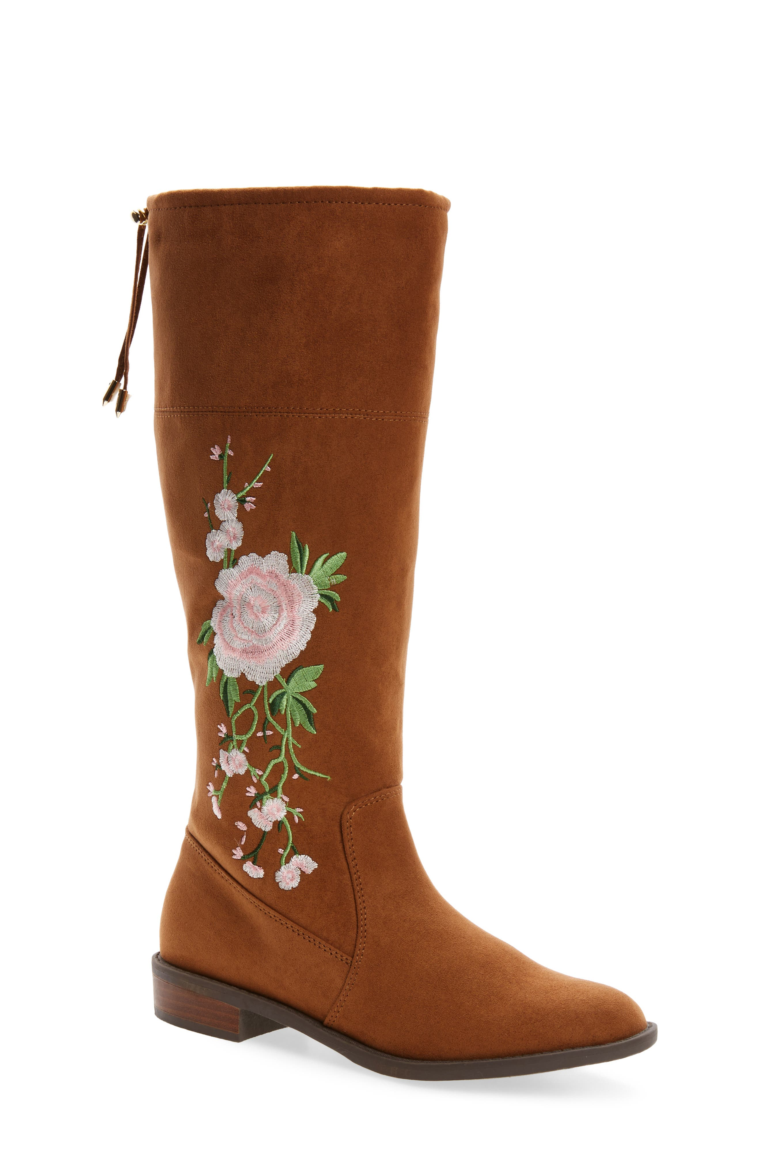 Pia Kent Embroidered Boot,                             Main thumbnail 1, color,                             Saddle Faux Suede