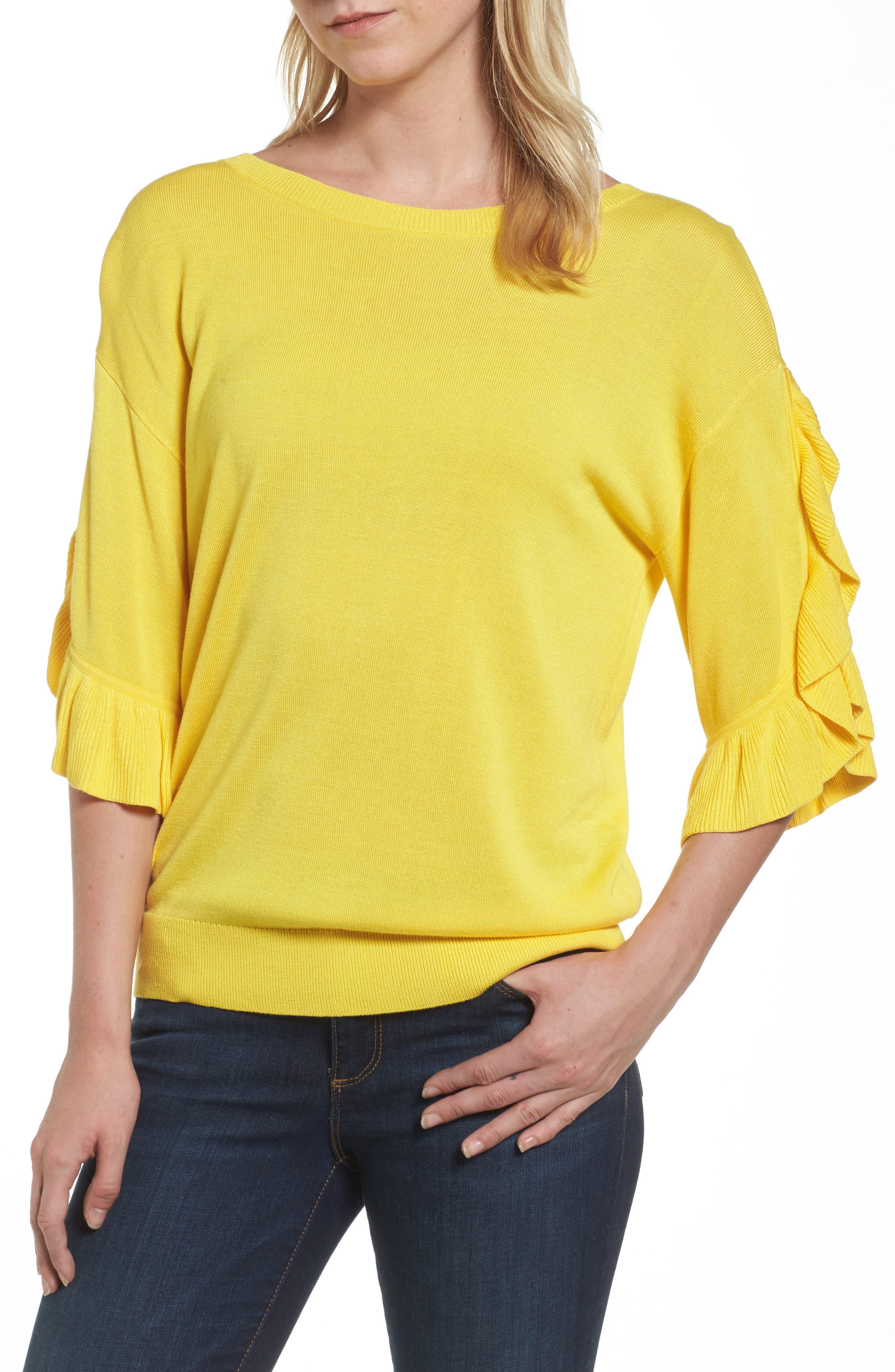 Halogen® Ruffle Sleeve V-Back Sweater (Regular & Petite)
