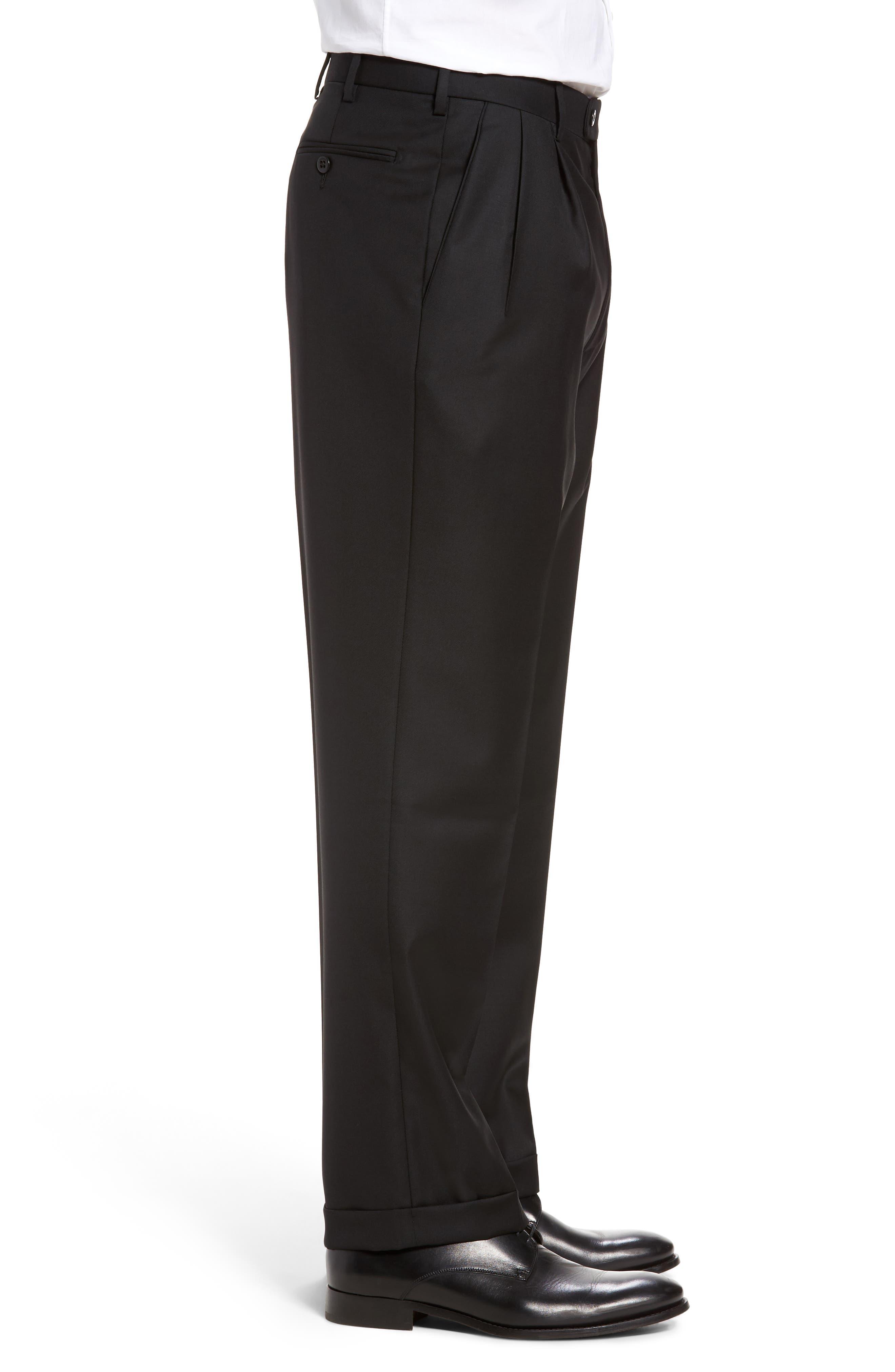 Bennett Regular Fit Pleated Trousers,                             Alternate thumbnail 3, color,                             Black