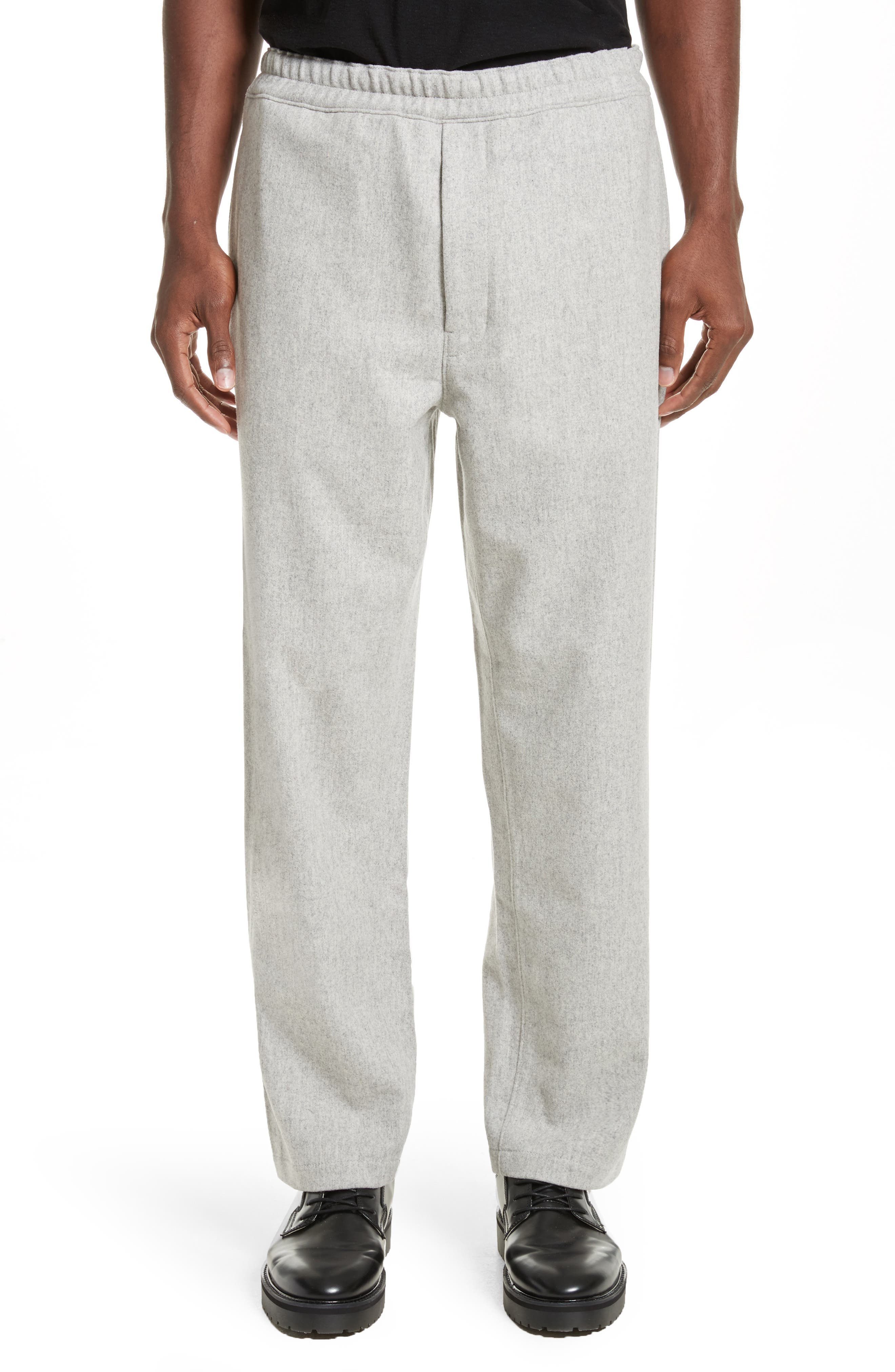 Mélange Wool Blend Trousers,                         Main,                         color, Light Grey Melange