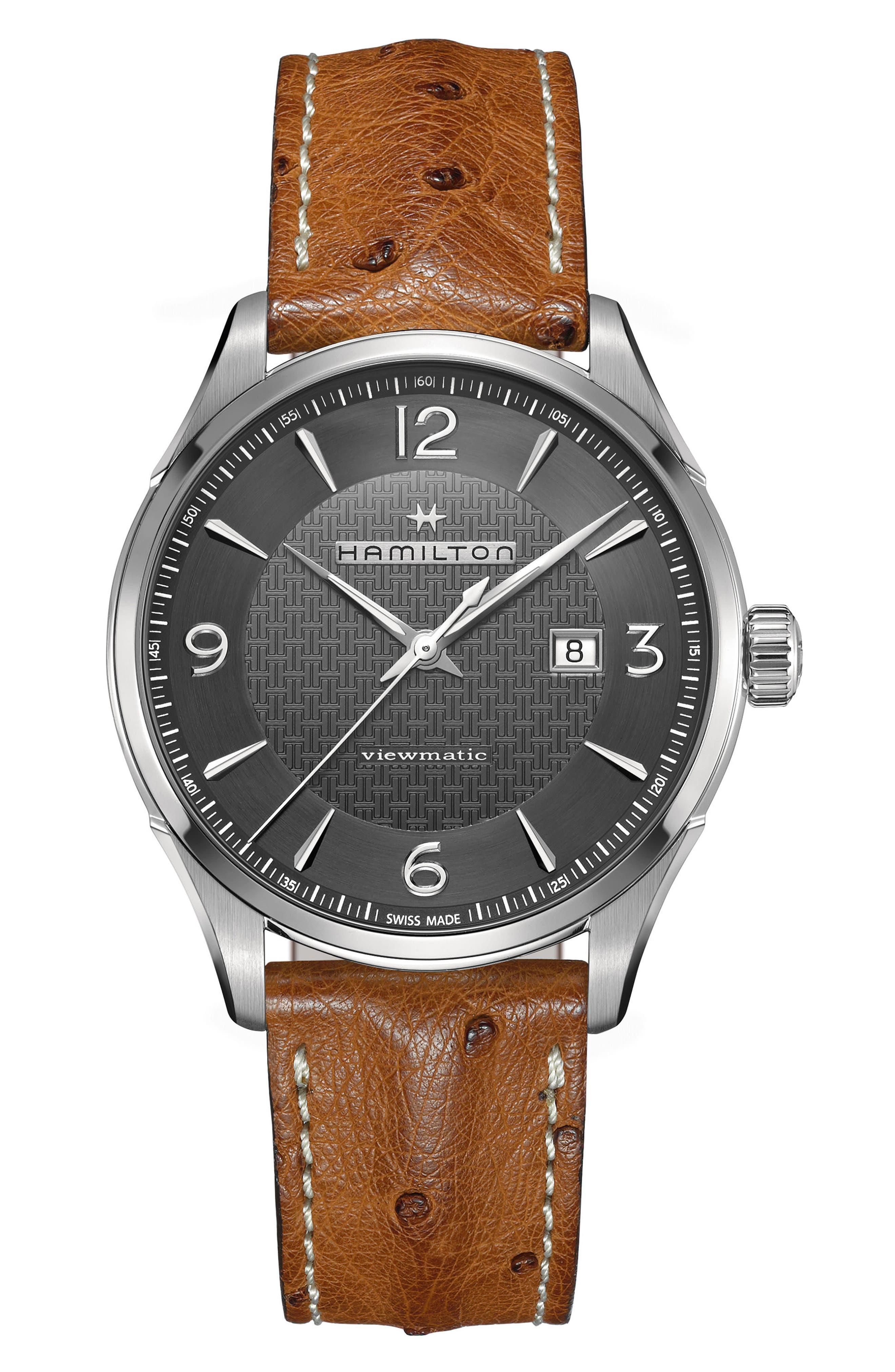 Main Image - Hamilton Jazzmaster Viewmatic Auto Ostrich Leather Strap Watch, 44mm