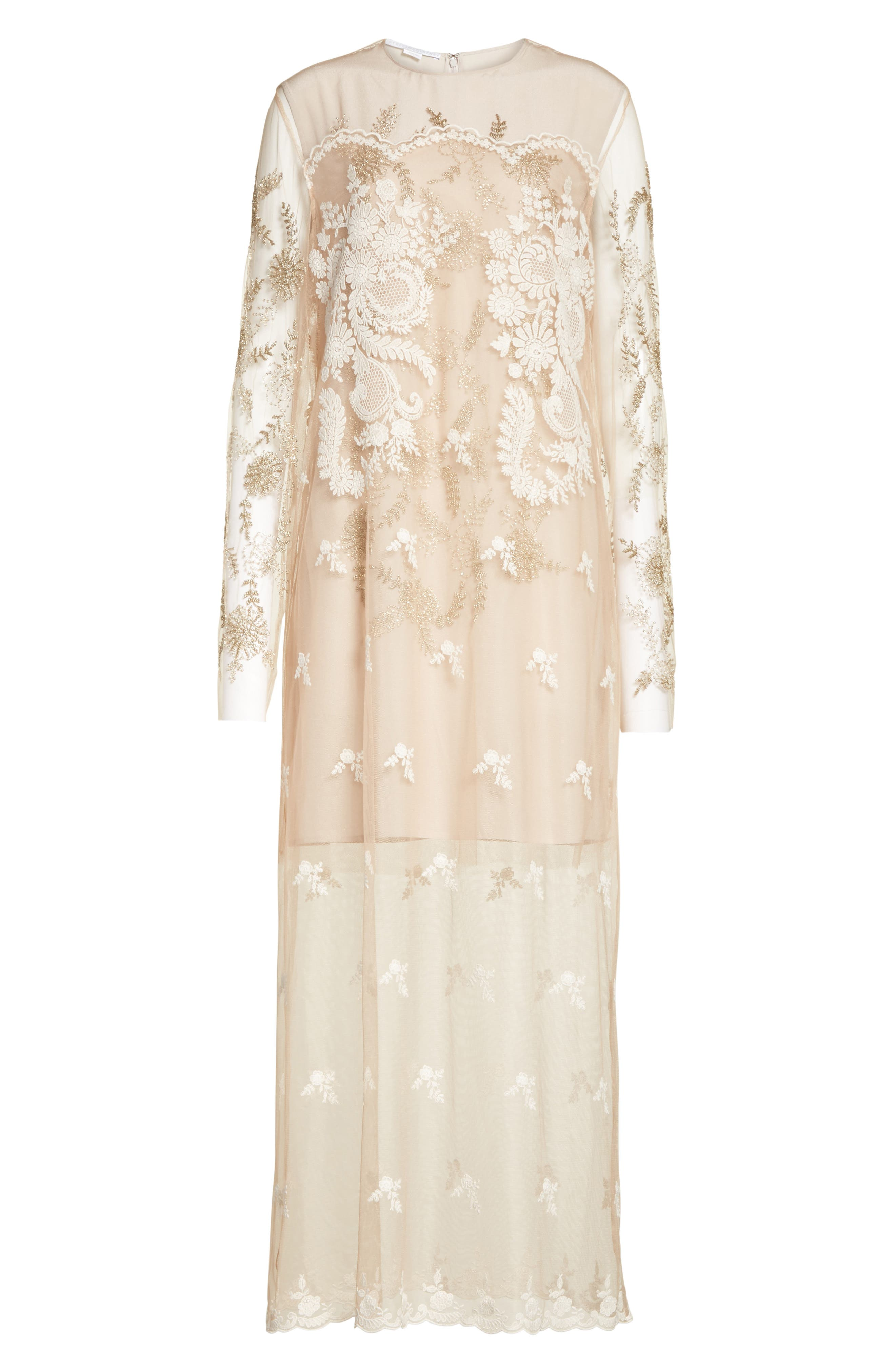 Embroidered Tulle Lace Dress,                             Alternate thumbnail 7, color,                             Camel