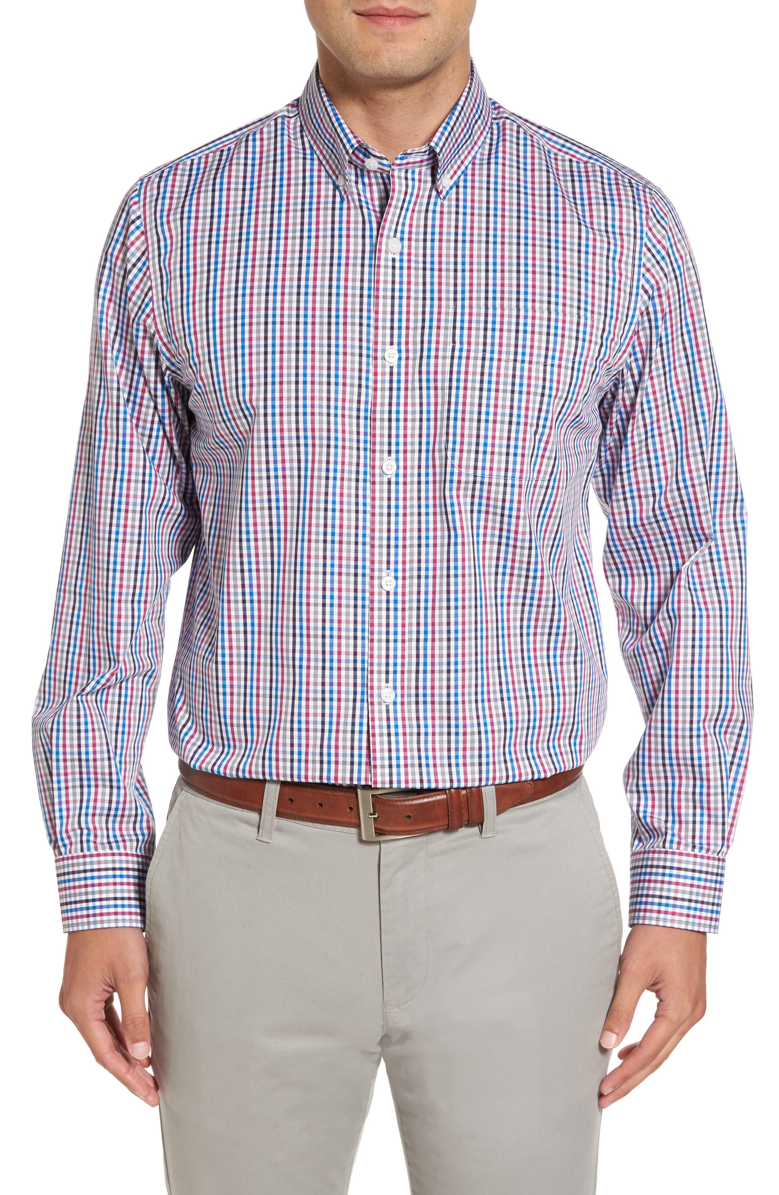 Baxter Epic Easy Care Classic Fit Plaid Sport Shirt,                         Main,                         color, Tannin