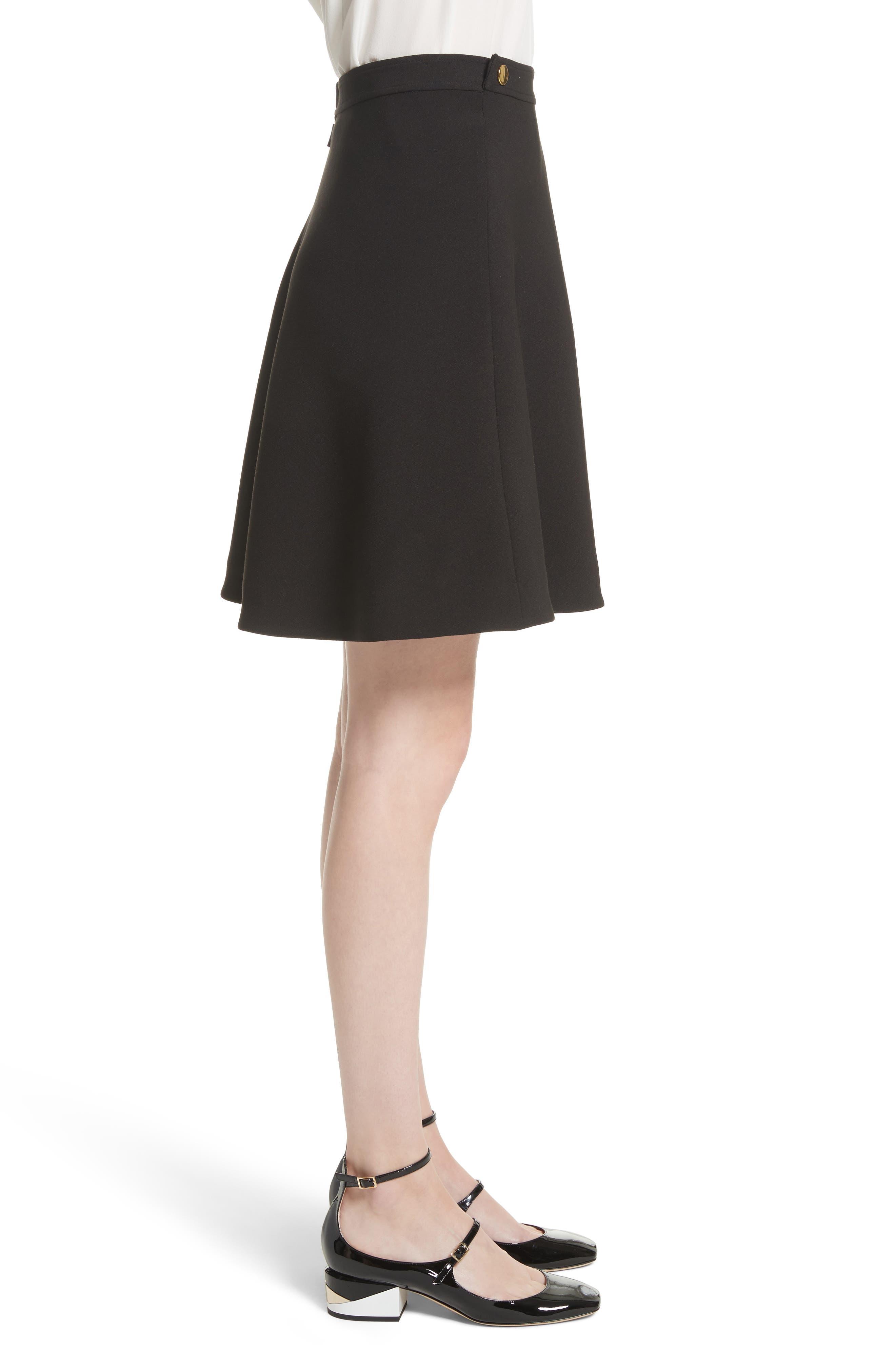 crepe military skirt,                             Alternate thumbnail 3, color,                             Black